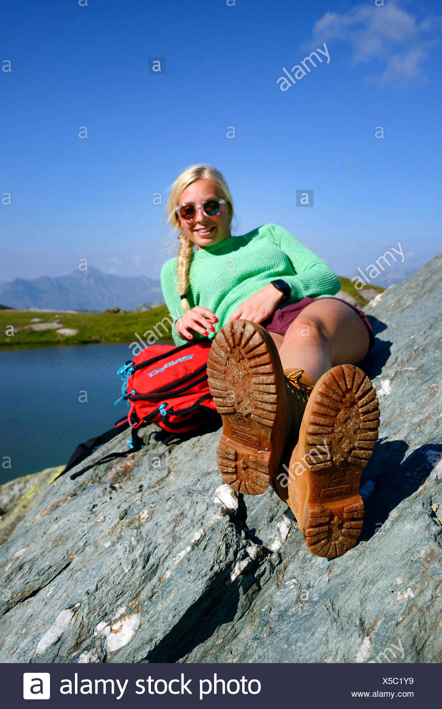 breather of a female wanderer at lake of Moutons , France, Savoie, Vanoise National Park - Stock Image
