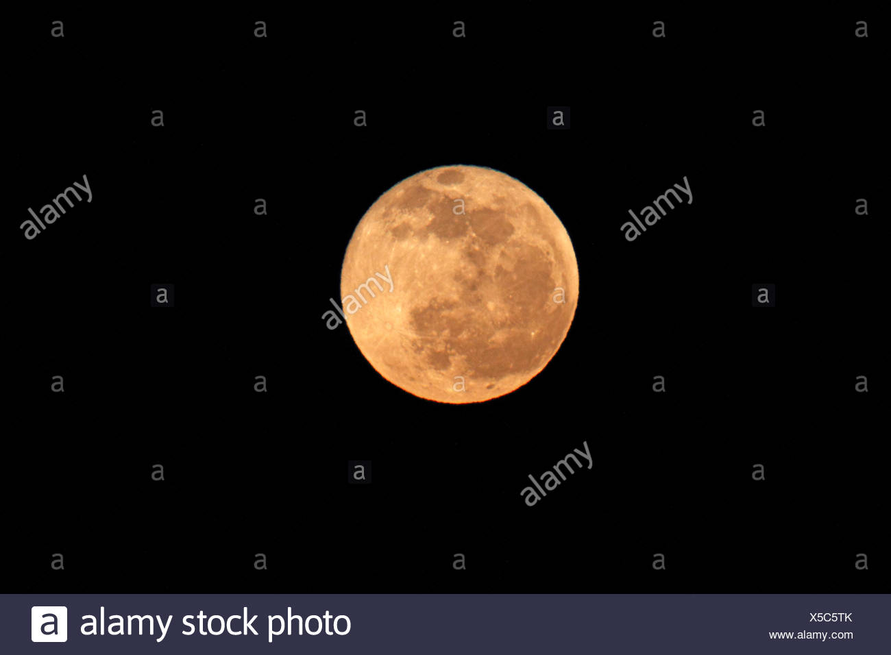 full moon at night, Greece, Lesbos - Stock Image