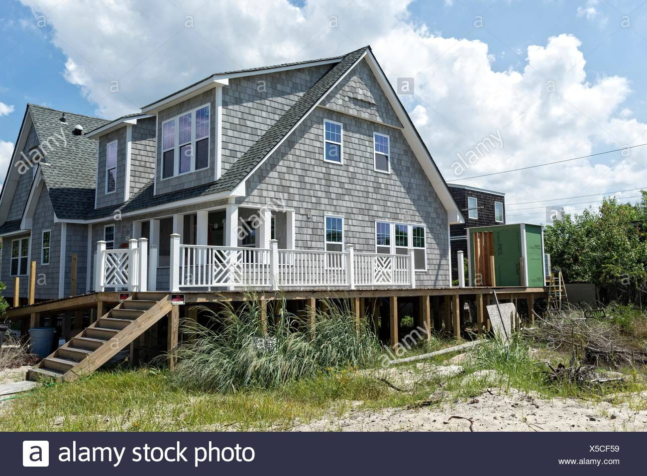 A home built on stilts to avoid storm and hurricane damage