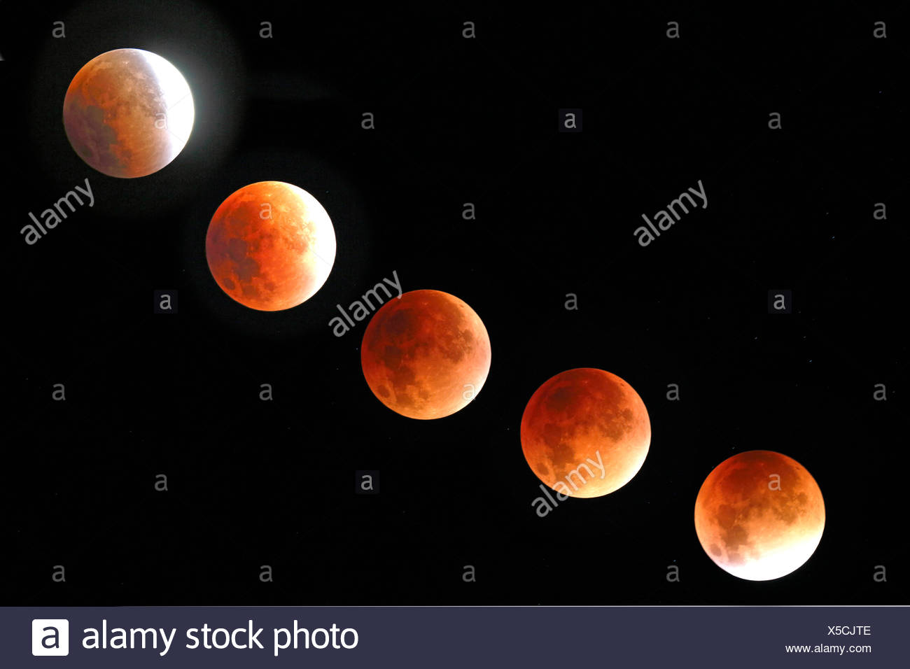 Mondfinsternis am 28.09.2015 in der Zeit von 4:19 Uhr bis 5:35 Uhr, Deutschland, Nordrhein-Westfalen, Haan   lunar eclipse at 28 - Stock Image