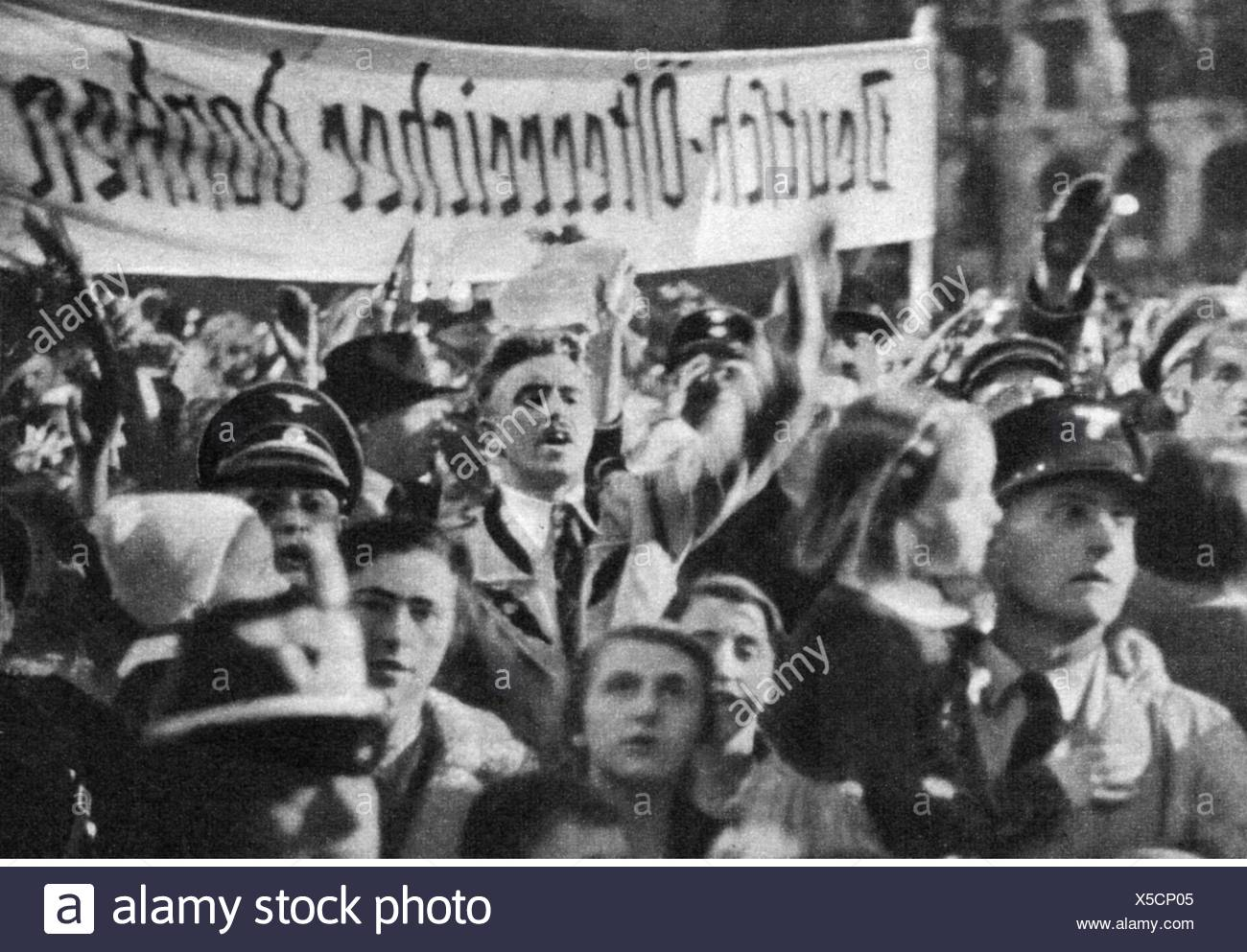 Nazism / National Socialism, politics, annexation of Austria 1938, Austrians at rally, 1938, 20th century, 1930s, 30s, Germany, NS, Nazism, Nazi era, National Socialism, German Reich, Third Reich, demonstration, demo, demonstrations, demos, demonstrators, demonstrator, cheers, jubilation, jubilance, cheer, cheering, jubilate, jubilating, banner, banners, euphoria, joy, happiness, happy, verve, wave of enthusiasm, elation, politics, policy, historic, historical, people, Additional-Rights-Clearences-NA Stock Photo