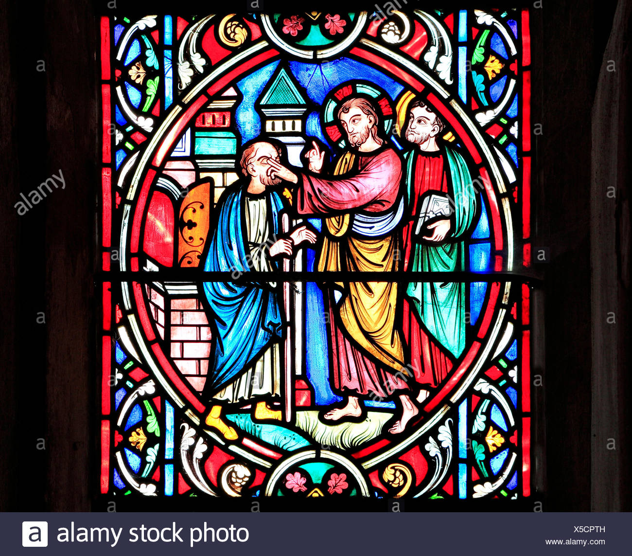 Scene from Life of Jesus, by Adolph Didron, Paris, 1860, stained glass window, Feltwell, Norfolk, England, Jesus restores sight to blind man, healing - Stock Image