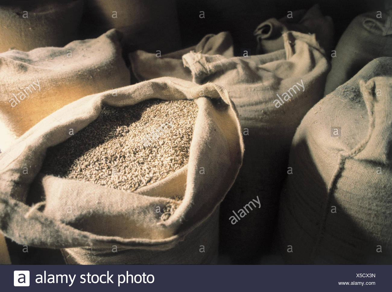 Mill, detail, grain bags, inside, grain mill, Germany, Black Forest, bags, jute bags, openly, grain, cereals, grain, processing, economy, Still life, close up - Stock Image