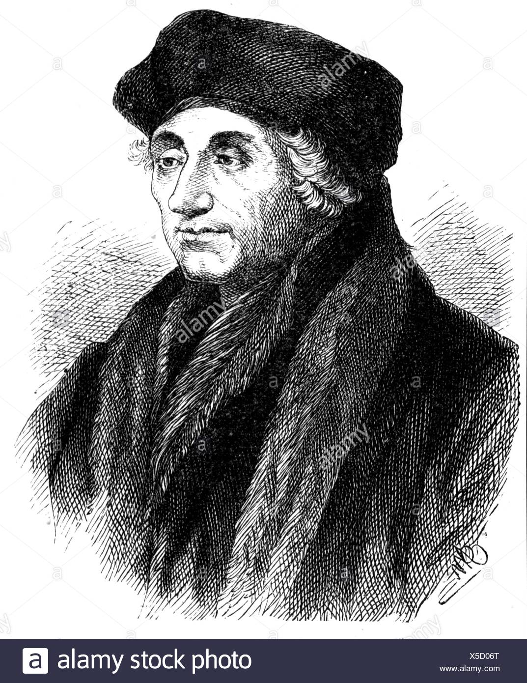 Erasmus of Rotterdam, 27.10.1467 (?) - 12.7.1536, Dutch scholar, portrait, wood engraving by Adolf Neumann, 19th century, Additional-Rights-Clearances-NA - Stock Image