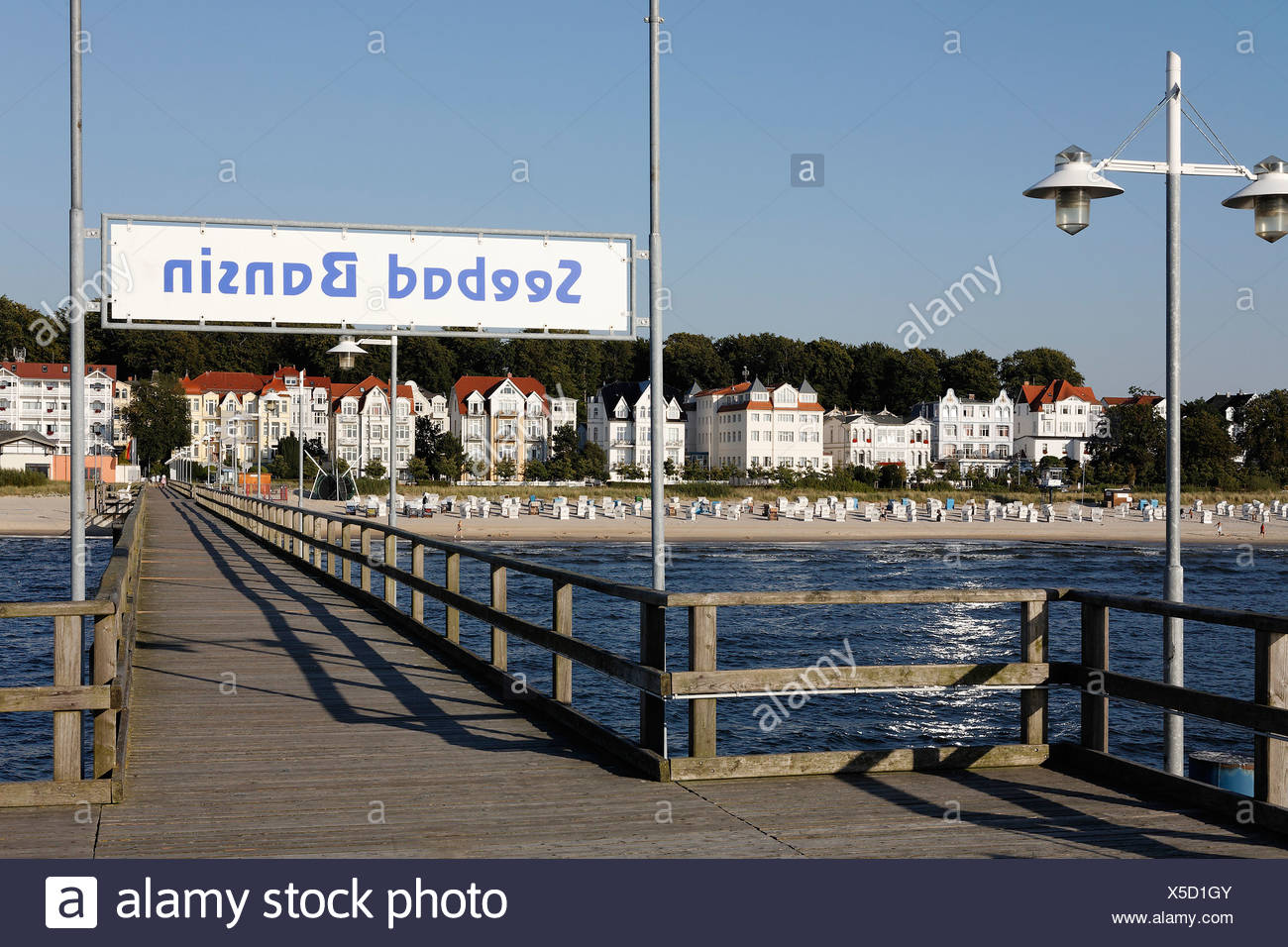 Bansin seaside resort, view from pier, Usedom Island, Baltic Sea, Mecklenburg-Western Pomerania, Germany, Europe Stock Photo