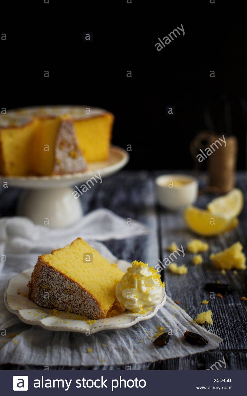 Fluffy and gluten free sponge cake, flavored with lemon and tonka bean - Stock Image