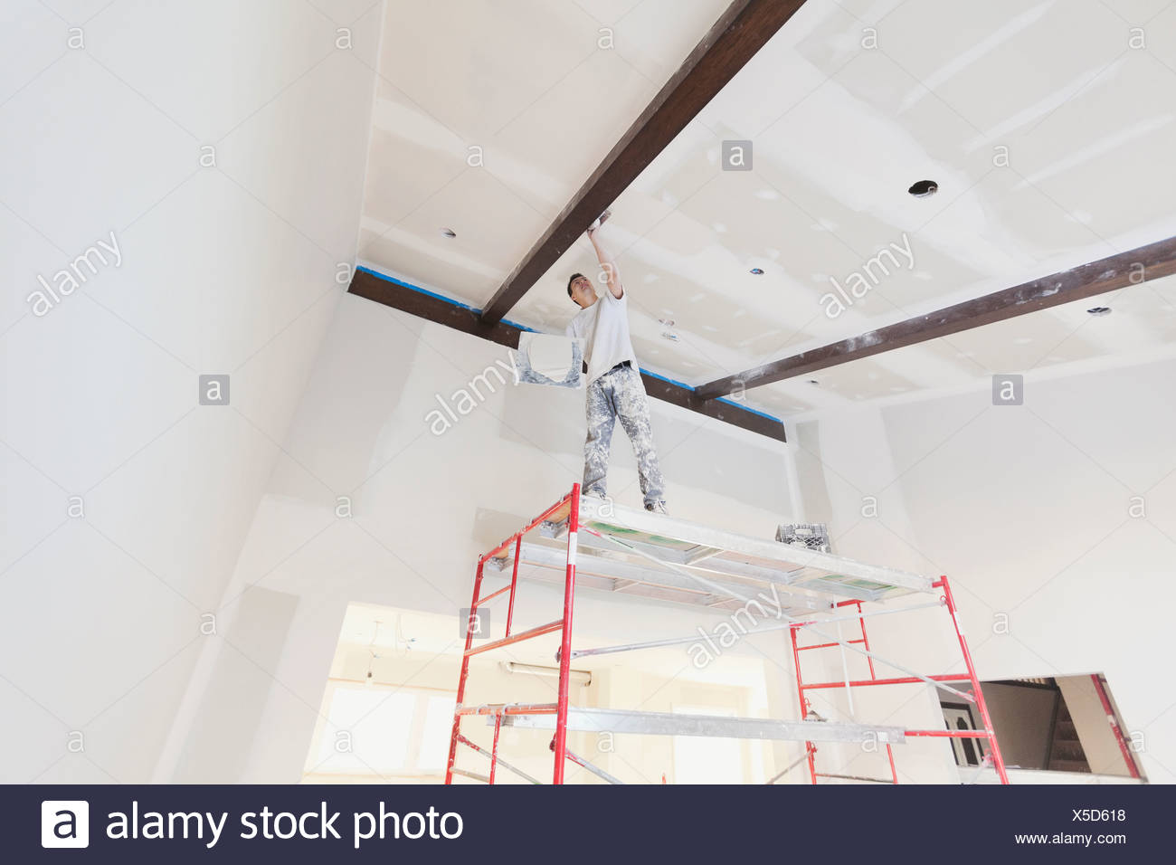 Low angle view of tradesman plastering drywall in home - Stock Image