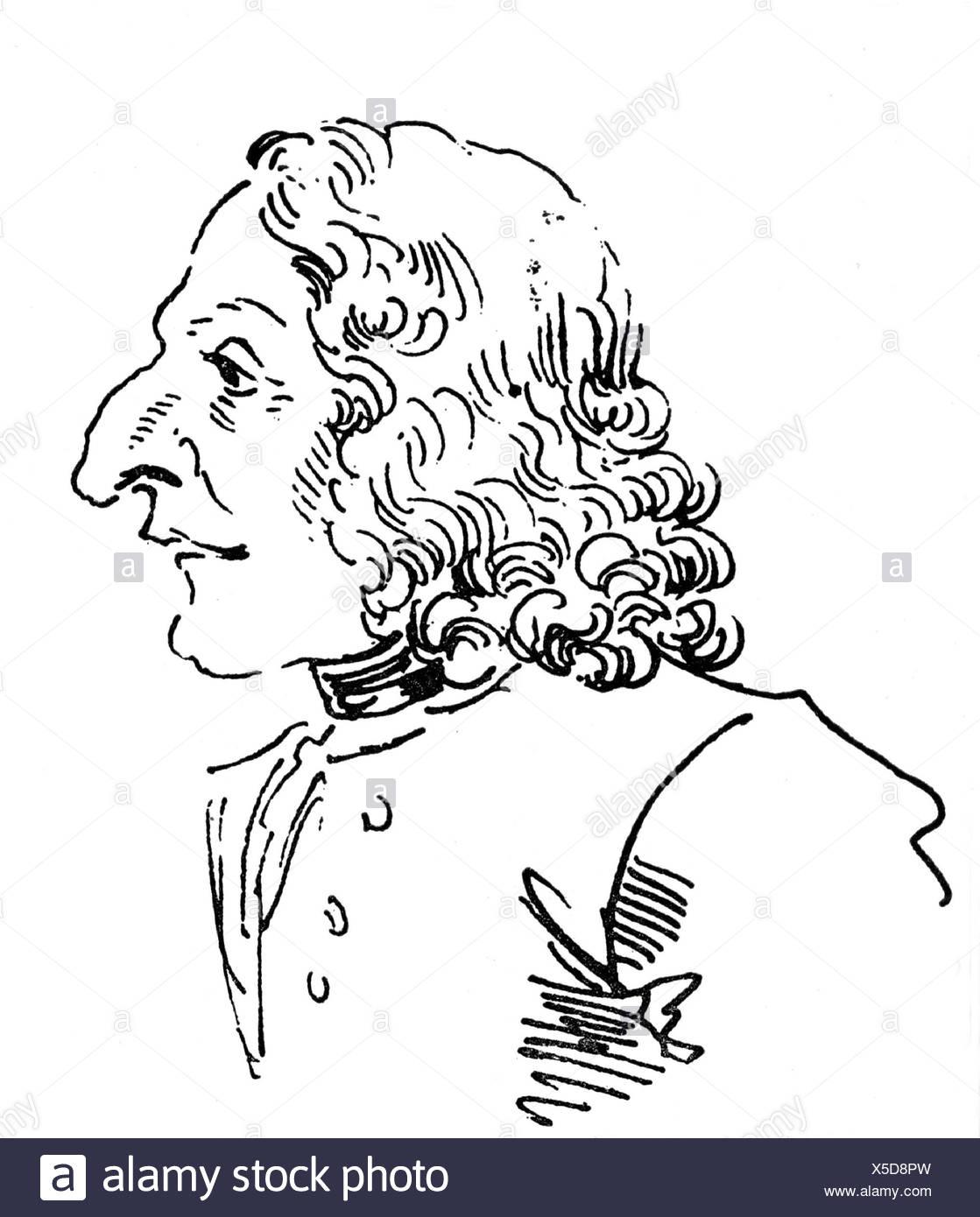 Vivaldi, Antonio, 4.3.1678 - 28.7.1741, Italian composer, portrait, caricature by Leone Ghezzi, 1773, Additional-Rights-Clearances-NA - Stock Image