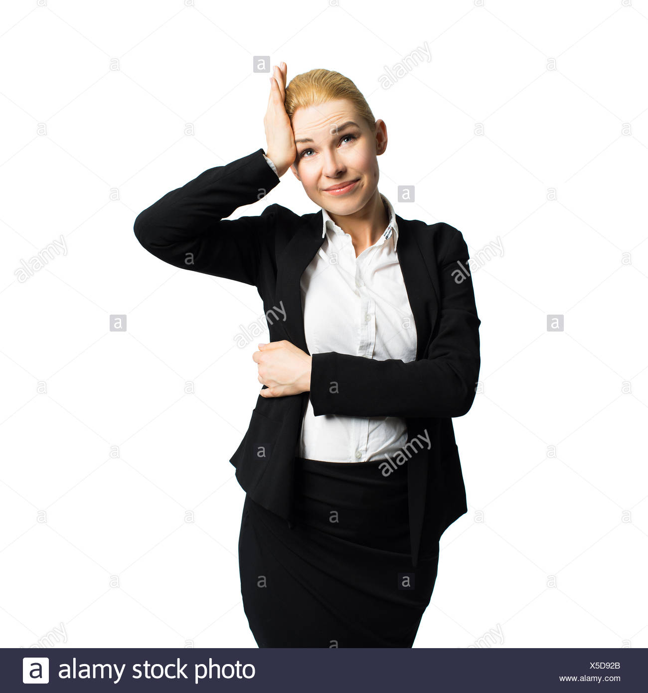 young stressed businesswoman - Stock Image