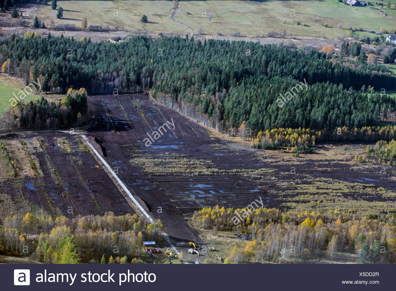 aerial view to peat mining area, Czech Republic, Boehmerwald - Stock Image