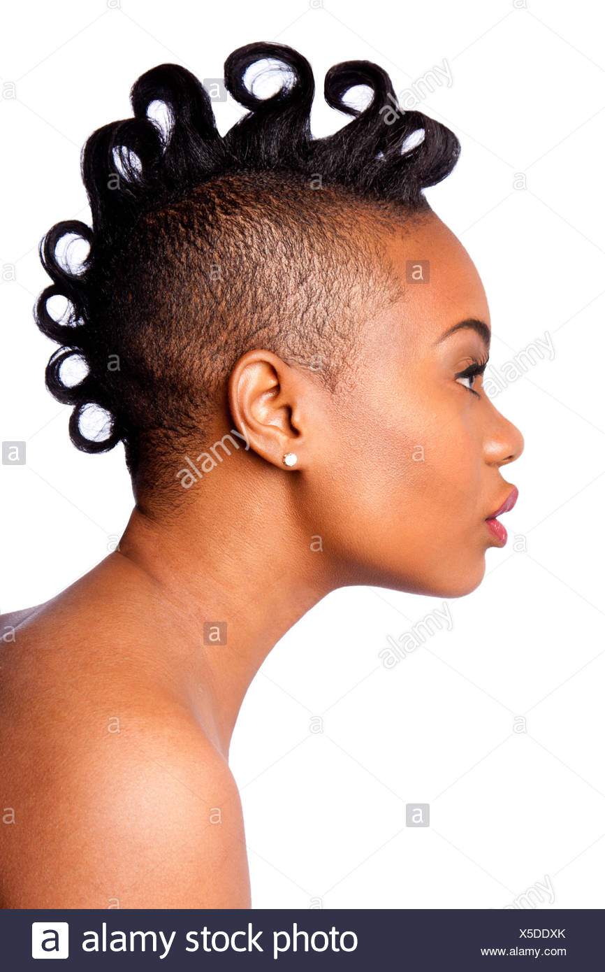 Side Profile Of Beautiful African Woman Face With Curls Mohawk