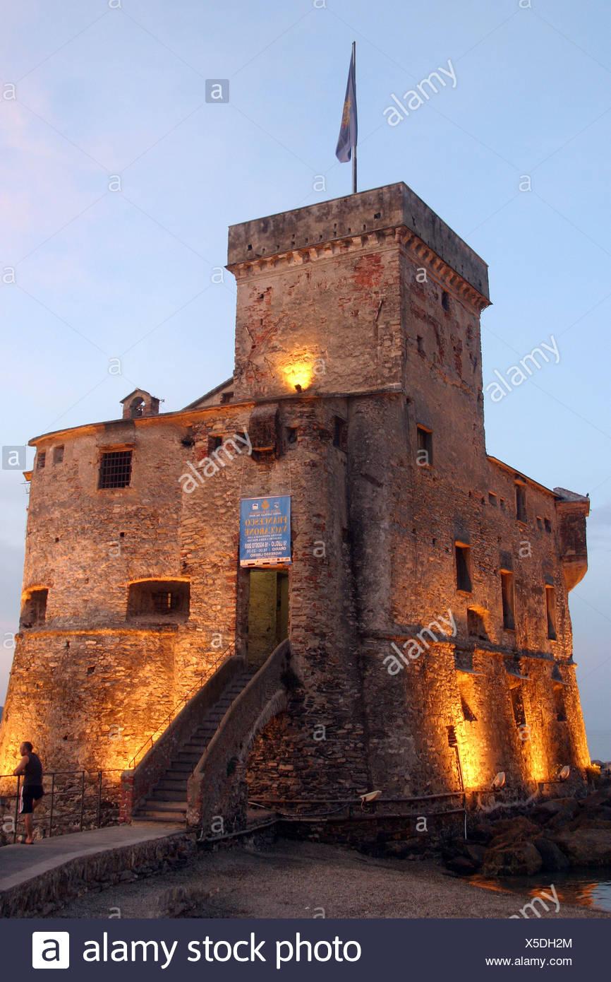 Italy, Genoa, Rapallo The castle at night - Stock Image