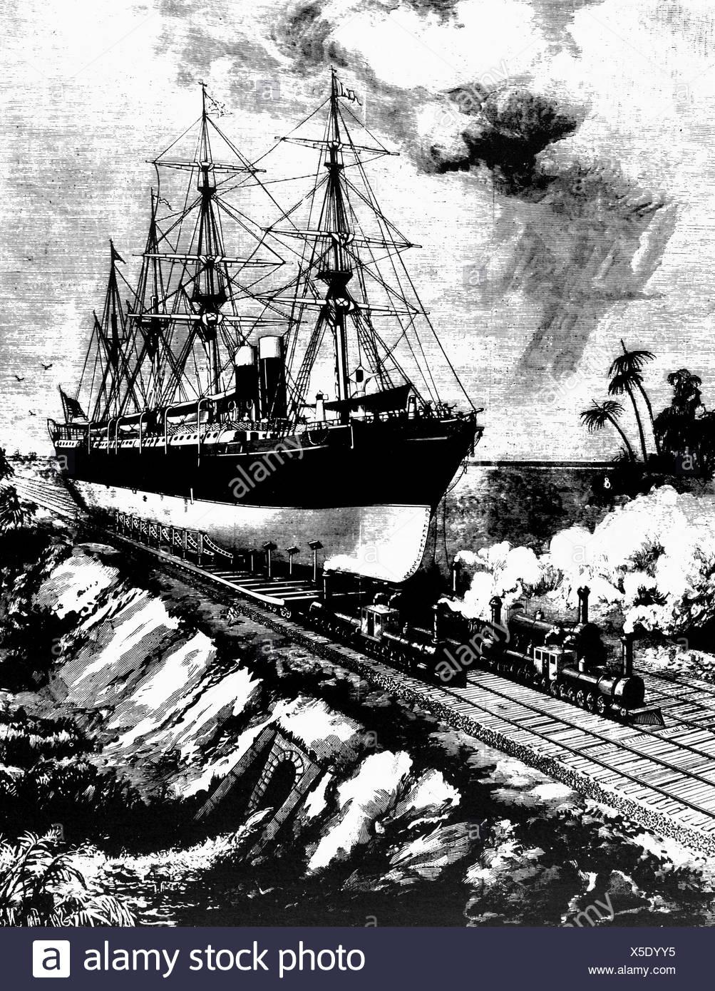 proposed inter - oceanic railway in Panama, 1884 - Stock Image