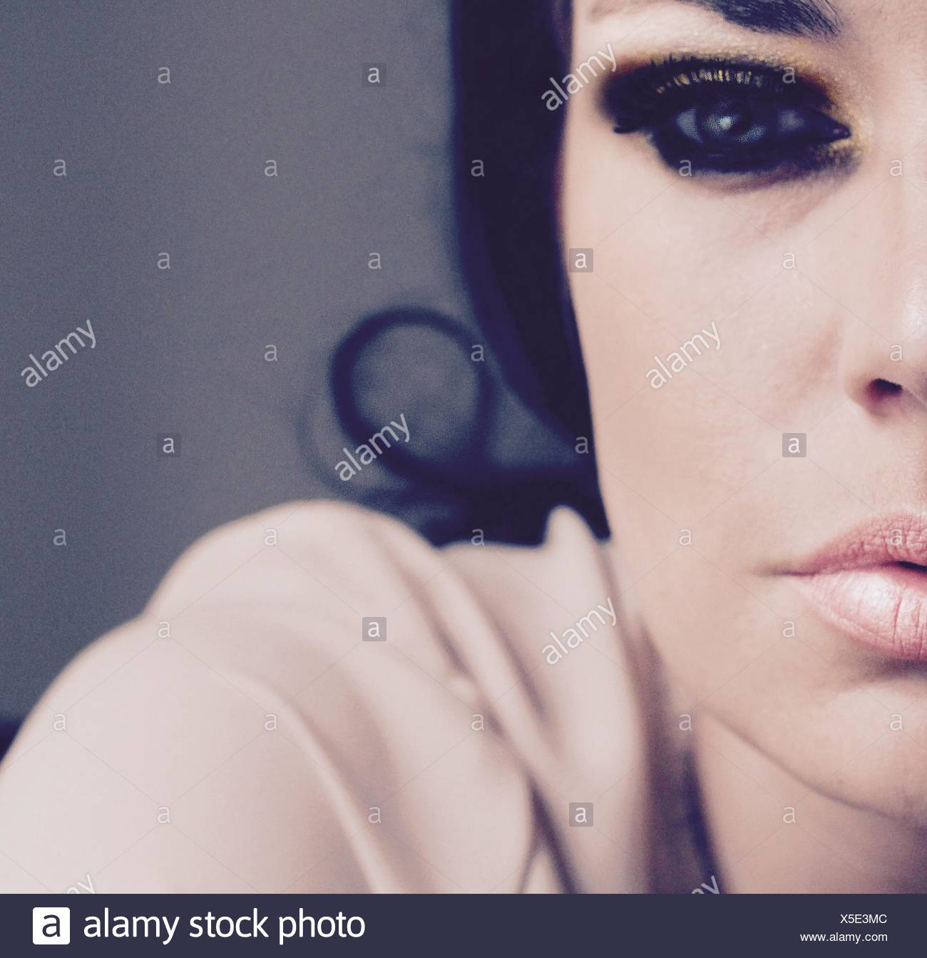 Close-Up Of Woman In Eye Make-Up - Stock Image