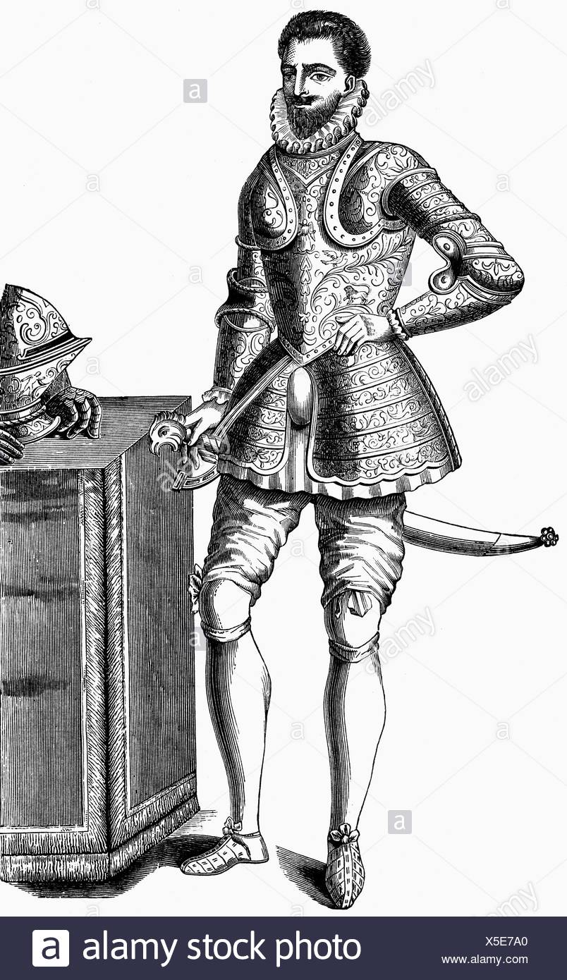 Francois Hercule, 18.3.1555 - 10.6.1584, Duke of Alencon 1565 - 1584, Duke of Anjou 1576 - 1584, full length, copper engraving, 16th century, , Artist's Copyright has not to be cleared - Stock Image