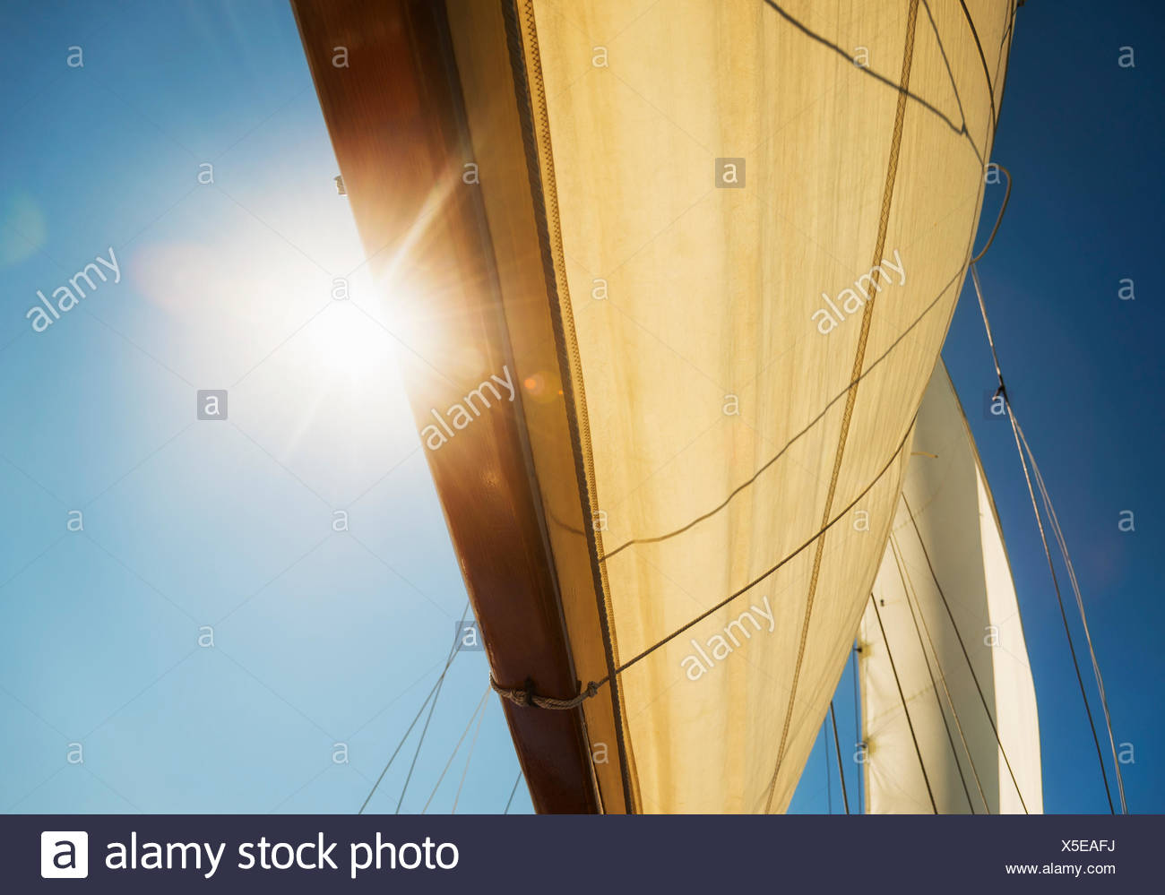 Close-up of sun shining through boat's sail - Stock Image