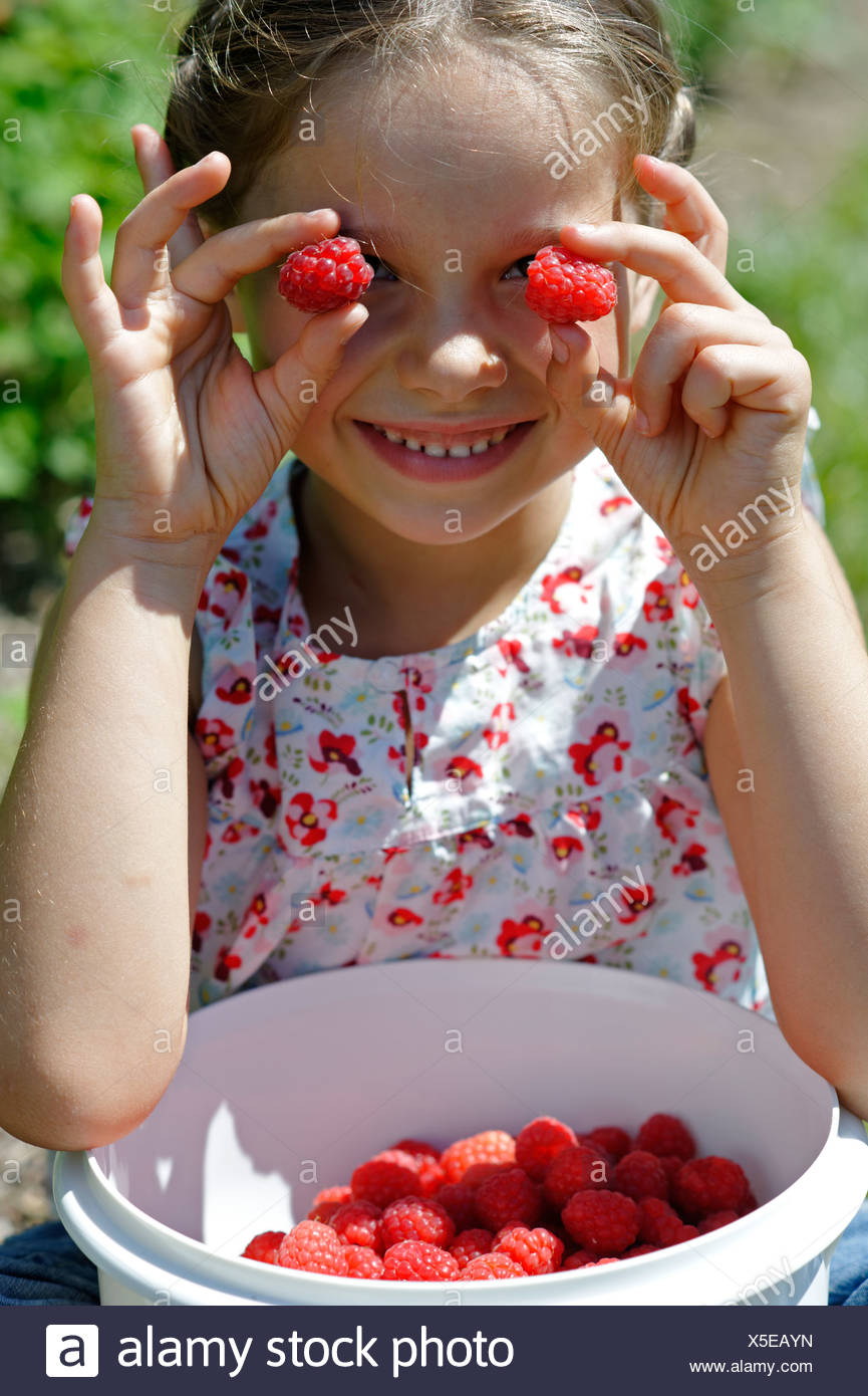 Girl holding raspberries in front of her eyes, with a bowl of freshly picked raspberries, Bavaria, Germany, Europe - Stock Image