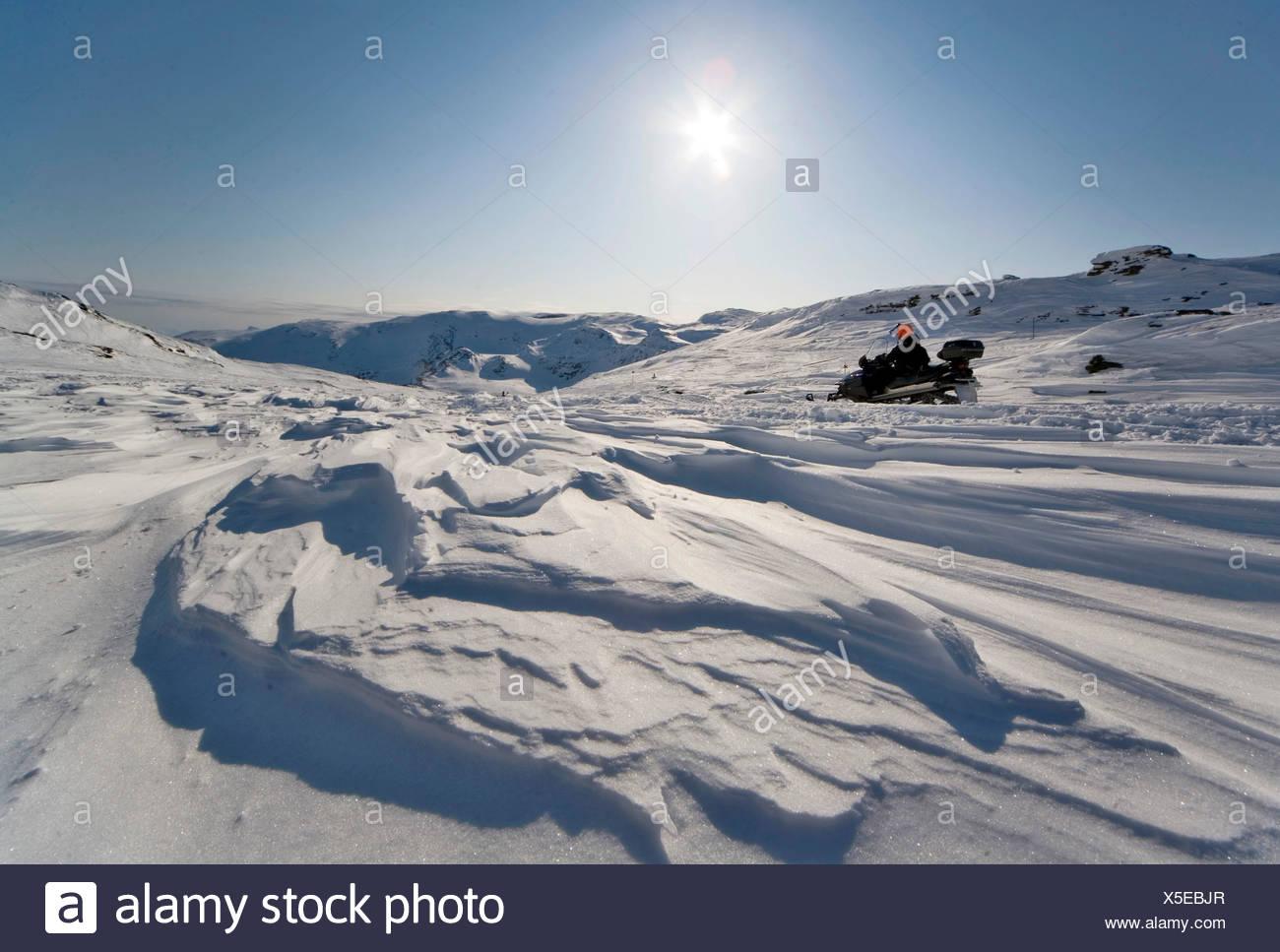 Snowmobile in Riksgrensen in Lapland, Sweden, Scandinavia, Europe - Stock Image