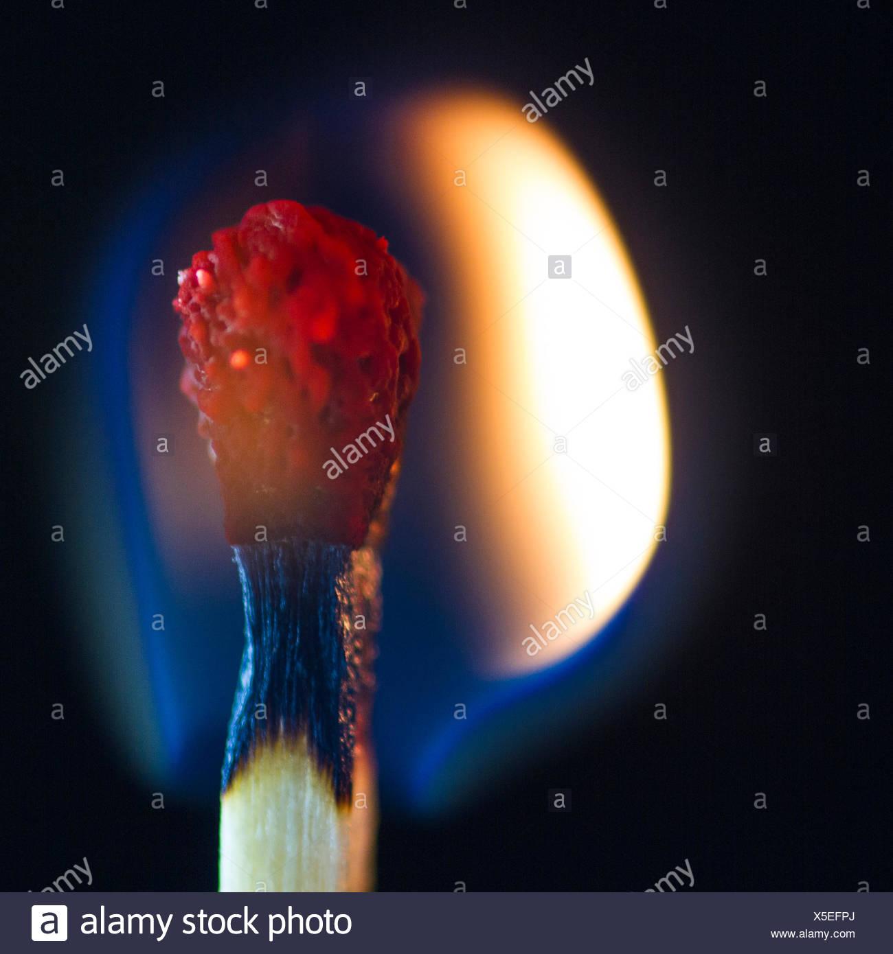 Close-up of a burning match Stock Photo