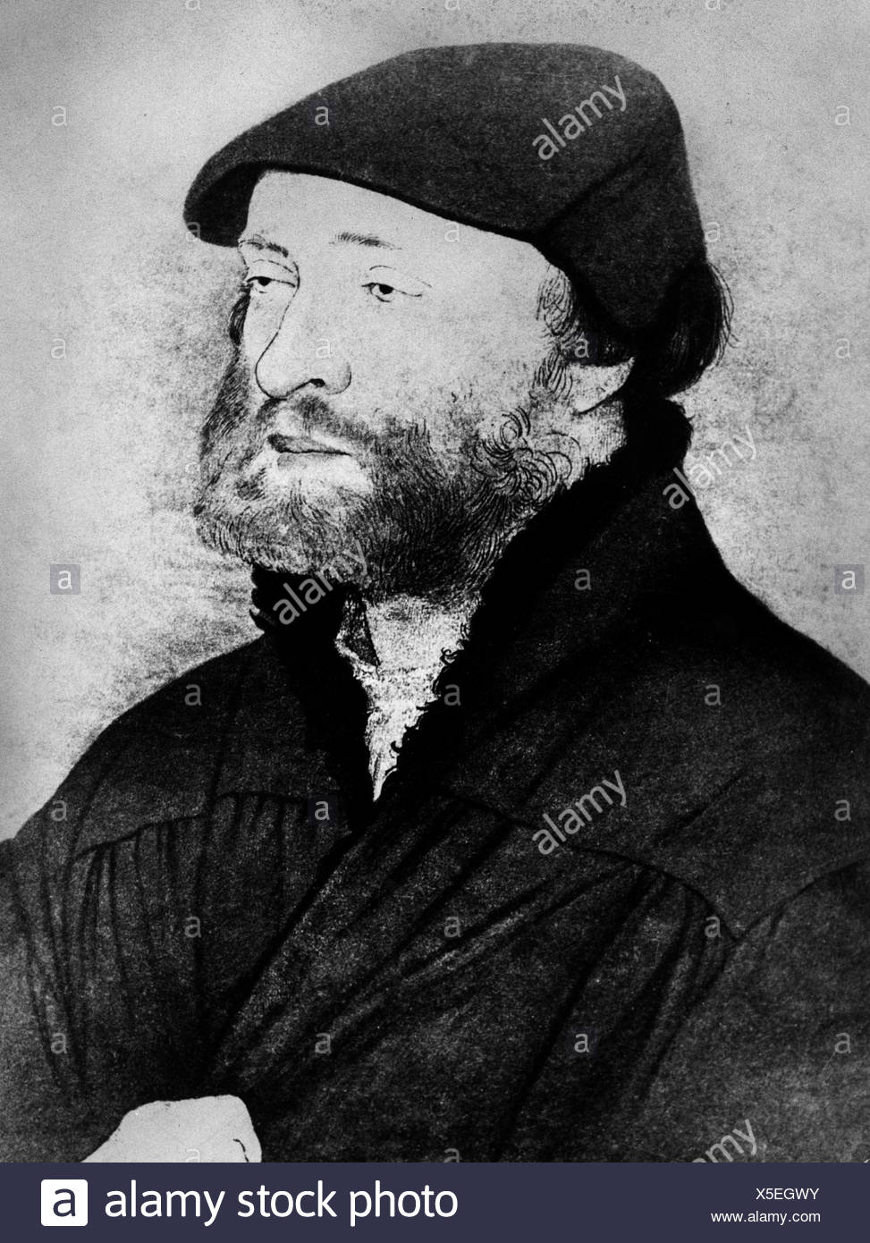 Holbein, Hans, the Younger, 1497 - 29.11.1543, German artist (painter and draughtsman), self-portrait, in the age of 40 years, Additional-Rights-Clearances-NA - Stock Image