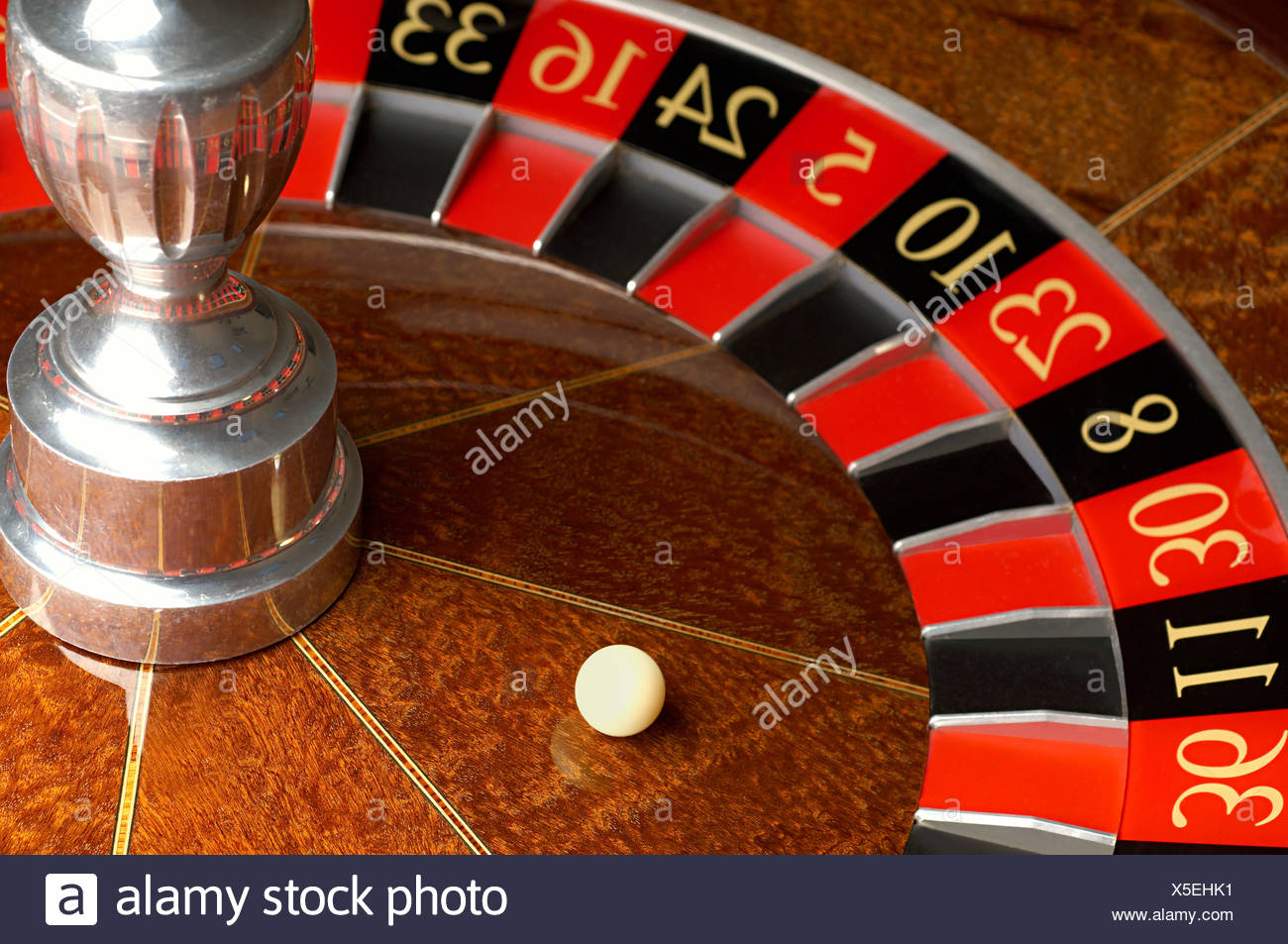 Roulette wheel and ball - Stock Image