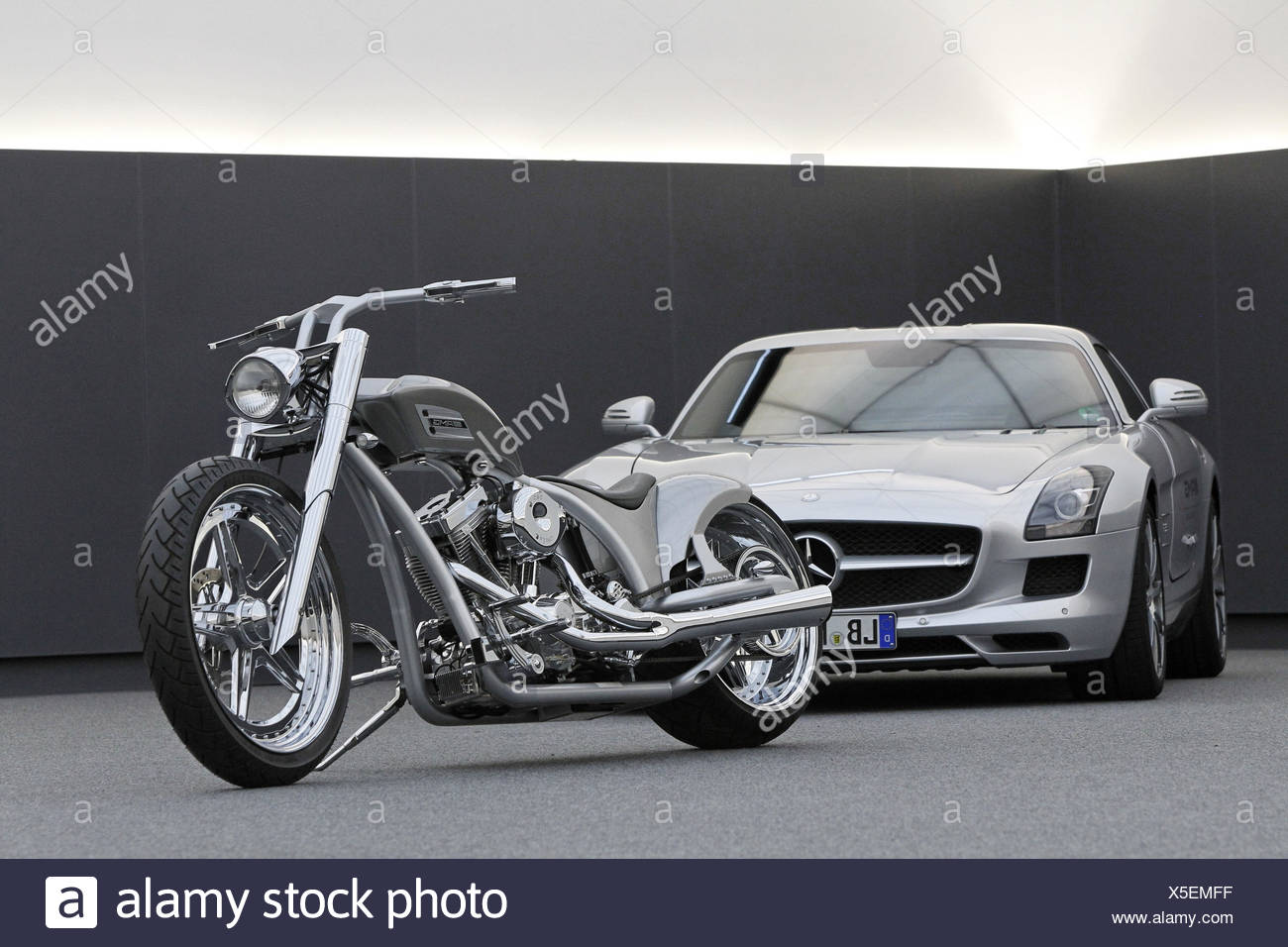 Motorcycle chopper AMG by car Mercedes AMG Wing door model SLS silver & Motorcycle chopper AMG by car Mercedes AMG Wing door model SLS ...