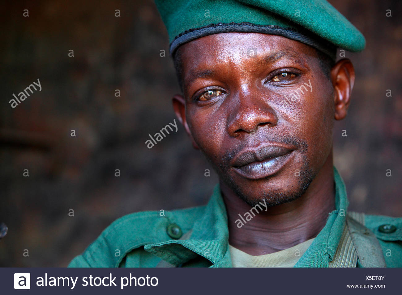 Congolese soldiers charged with protecting the Garamba National Park in the Democratic Republic of Congo - Stock Image