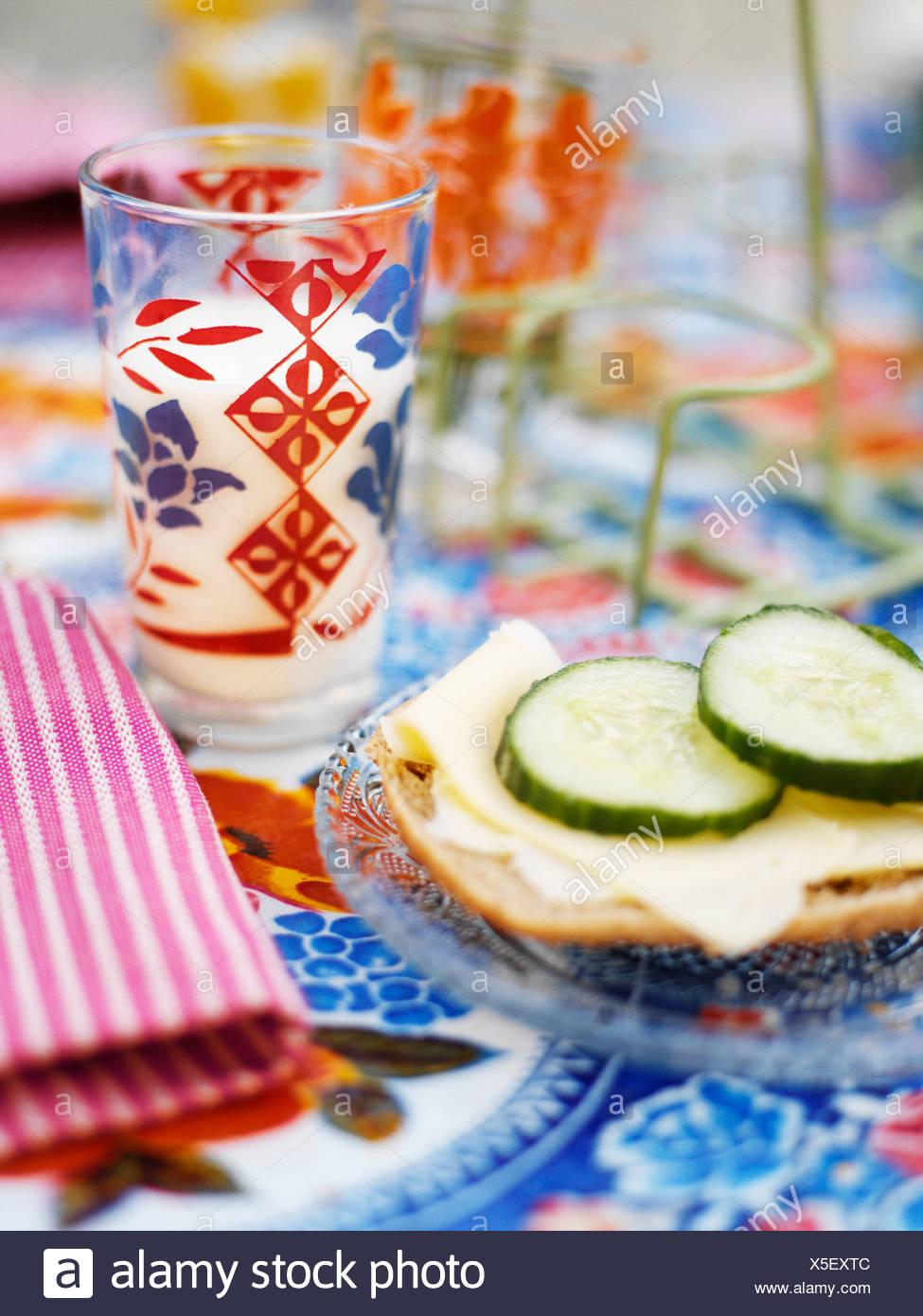 Sandwiche and a glas of milk. - Stock Image