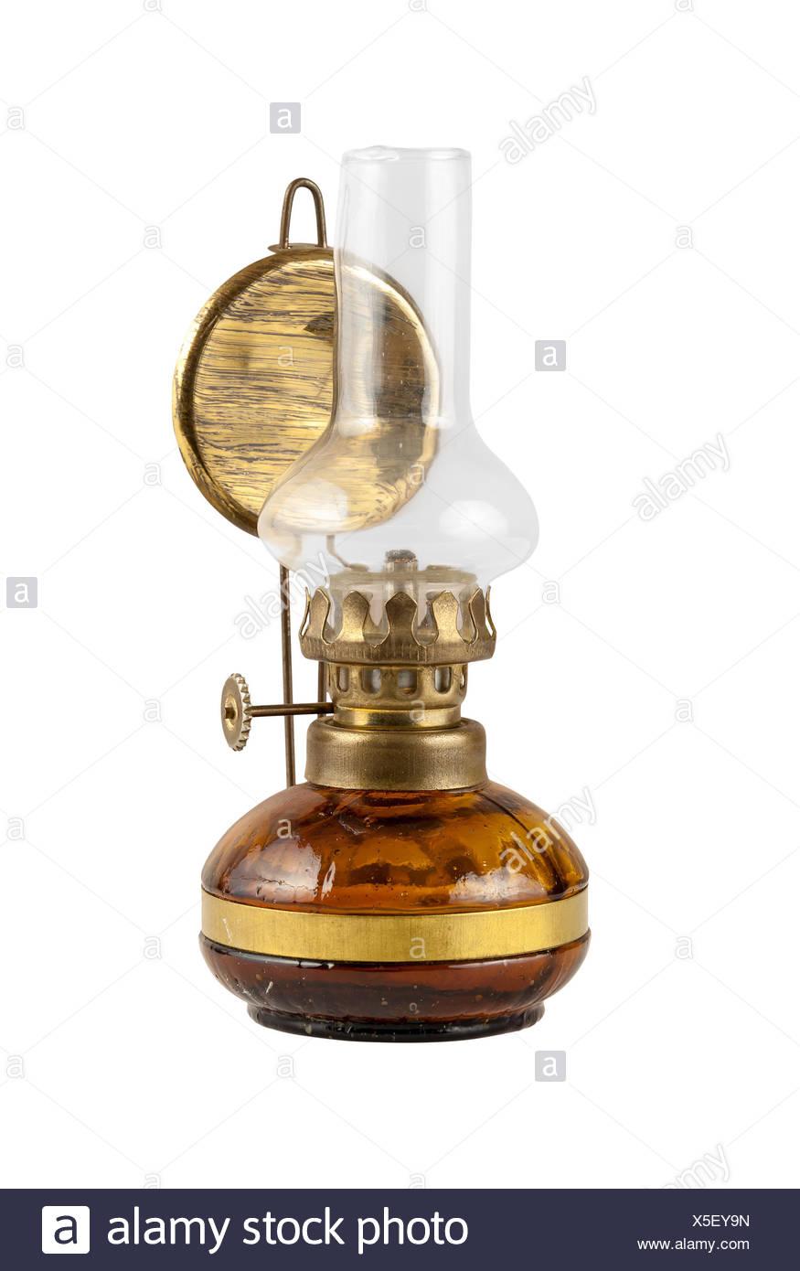 Old kerosene lamp isolated on white background with clipping path - Stock Image