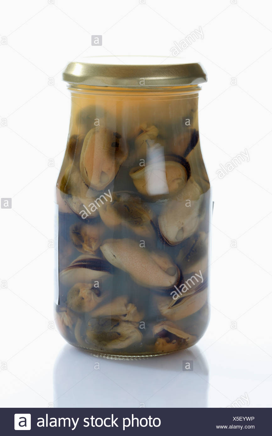 Preserved mussels in glass jar on white background - Stock Image