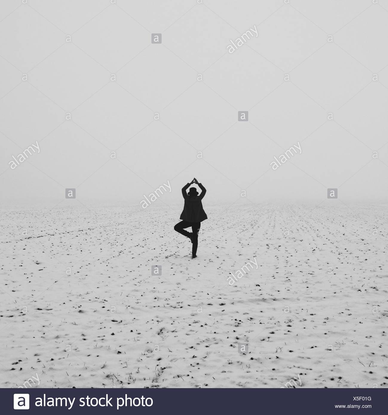 Rear View Of Woman Doing Yoga In Snowy Field - Stock Image