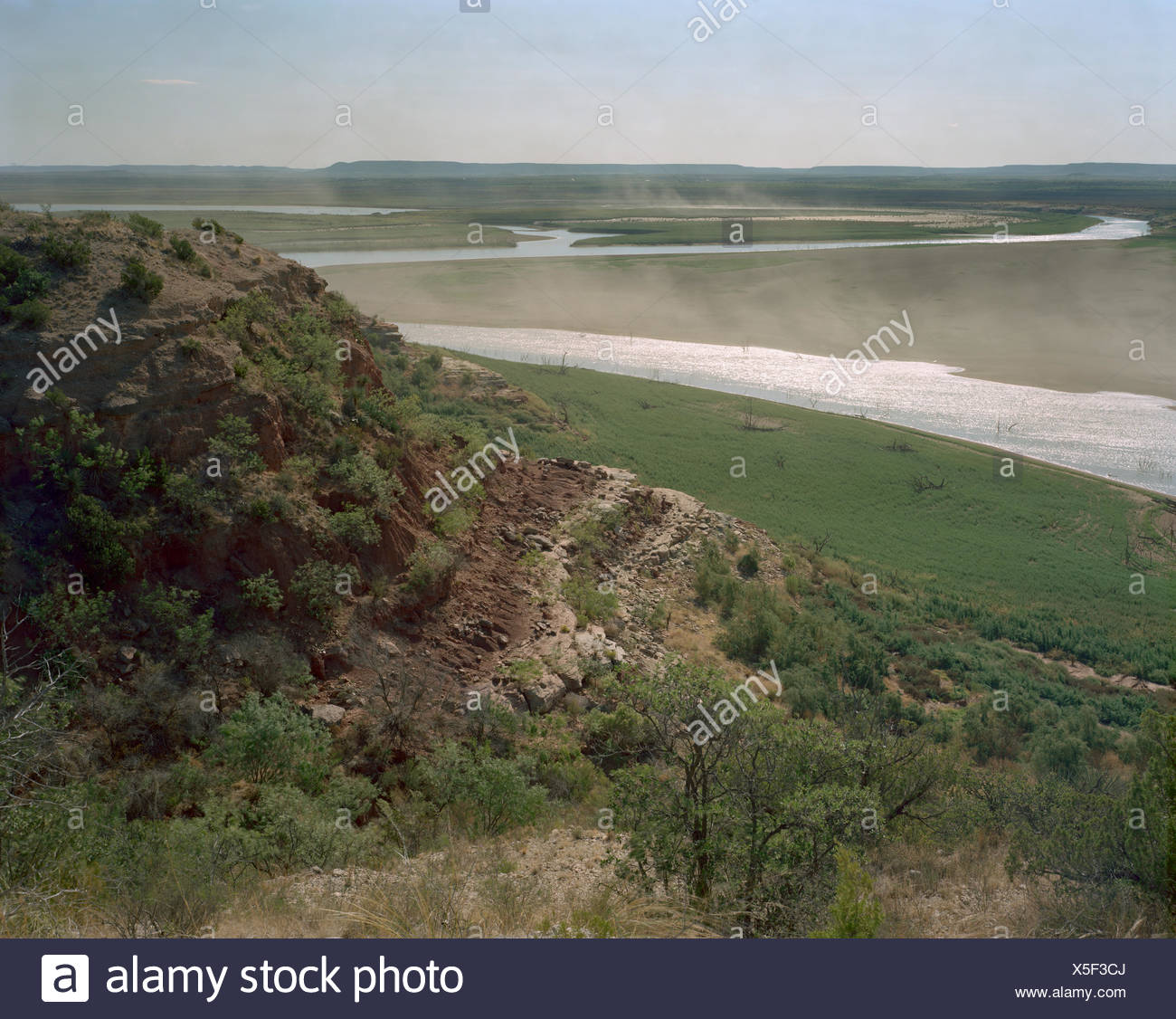 The E. V. Spence Reservoir after a prolonged drought. - Stock Image
