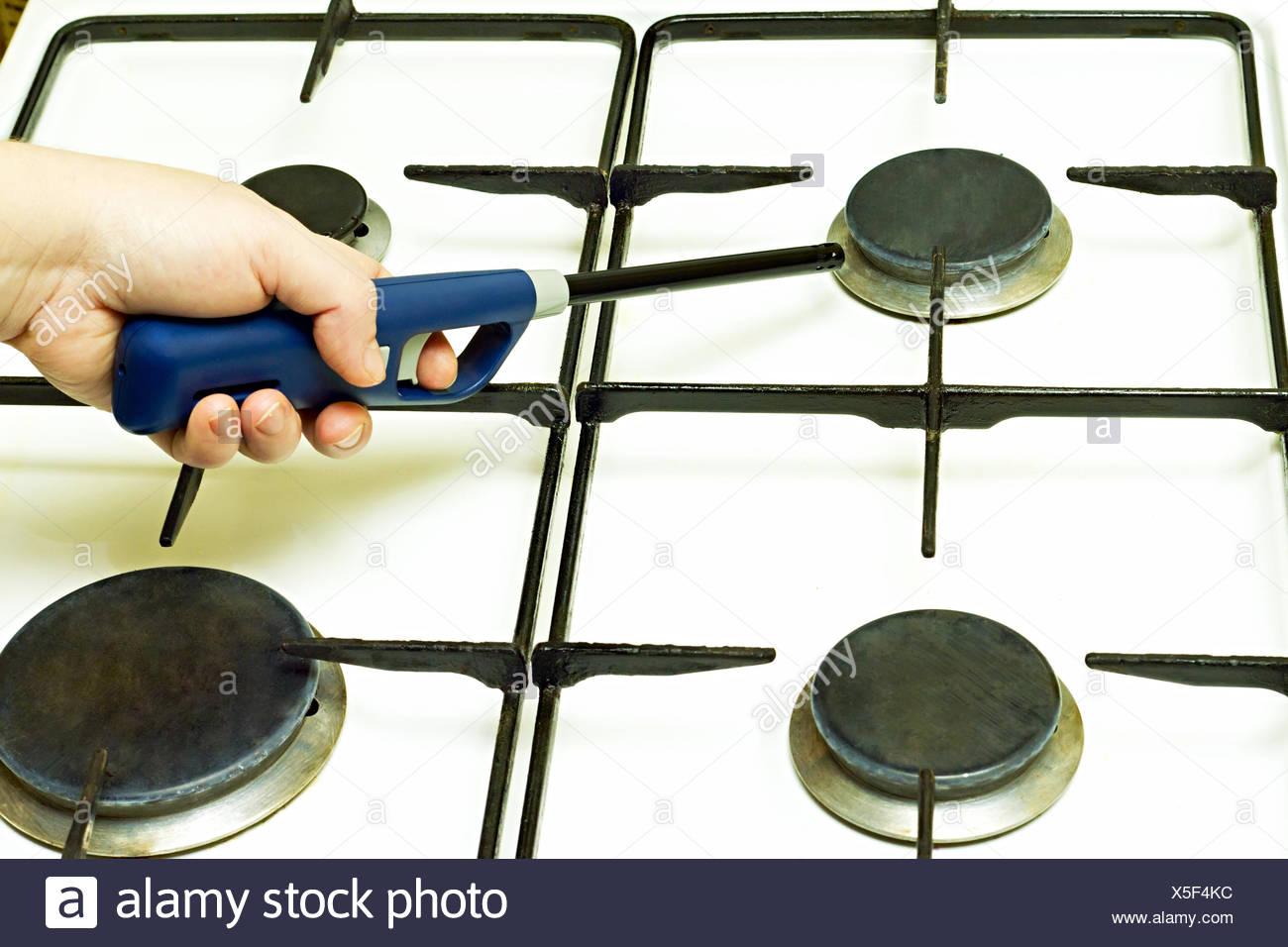 Lighter gas burner ignites - Stock Image