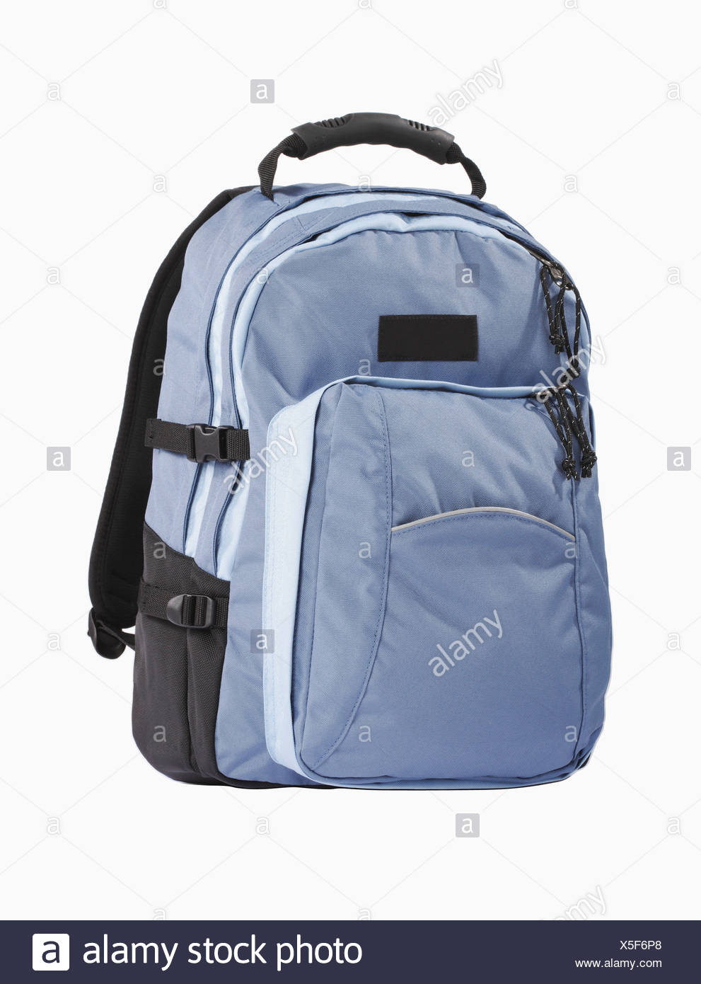 Backpack against white background, close-up - Stock Image