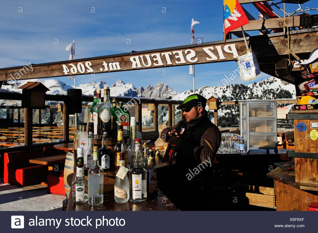 Ski piste at Santa Cristina, Selva, Langkofel mountain, Sella Ronda, Val Gardena, South Tyrol, Italy, Europe Stock Photo