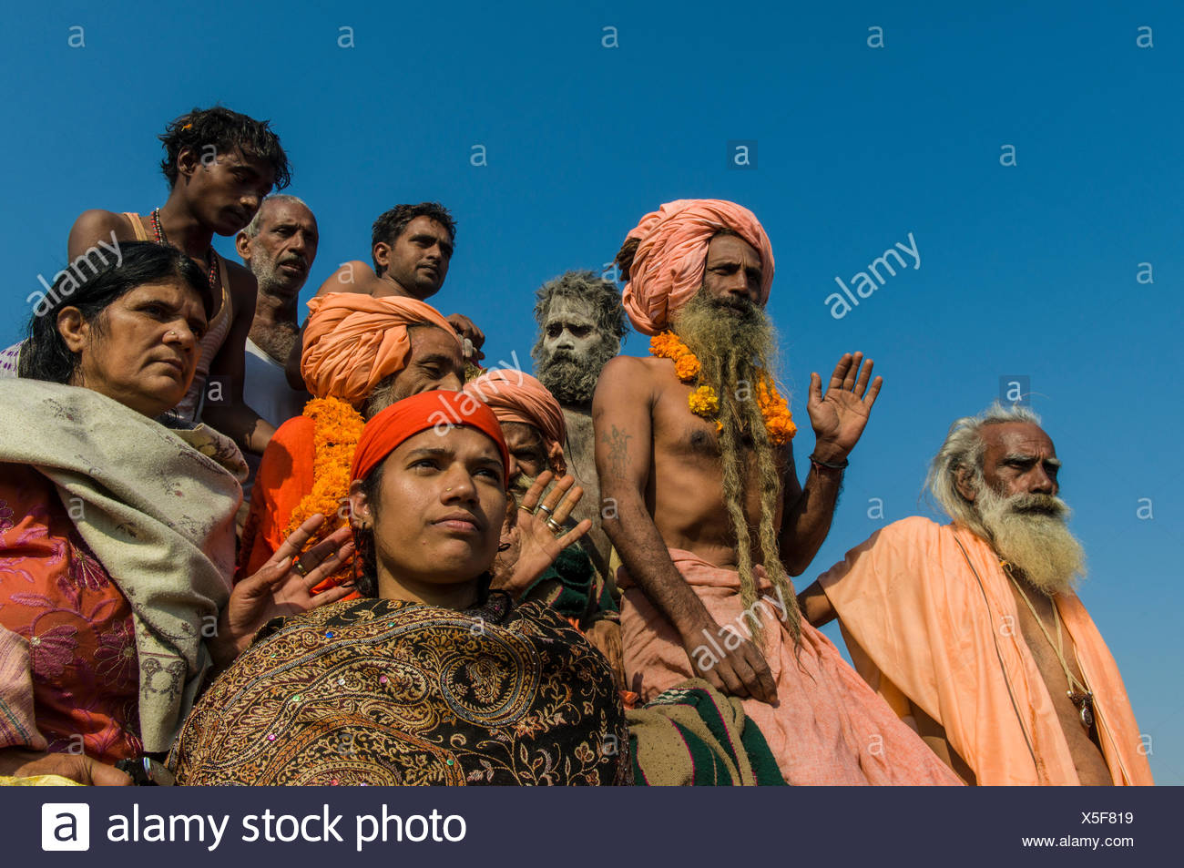 Group of sadhus participating in the procession of Shahi Snan, the royal bath, during Kumbha Mela festival, Allahabad - Stock Image