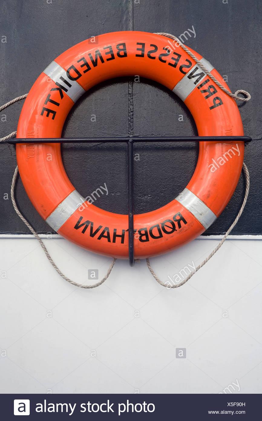 Lifesaver flotation ring on the ferry, Princes Benedikte, Denmark, Europe - Stock Image
