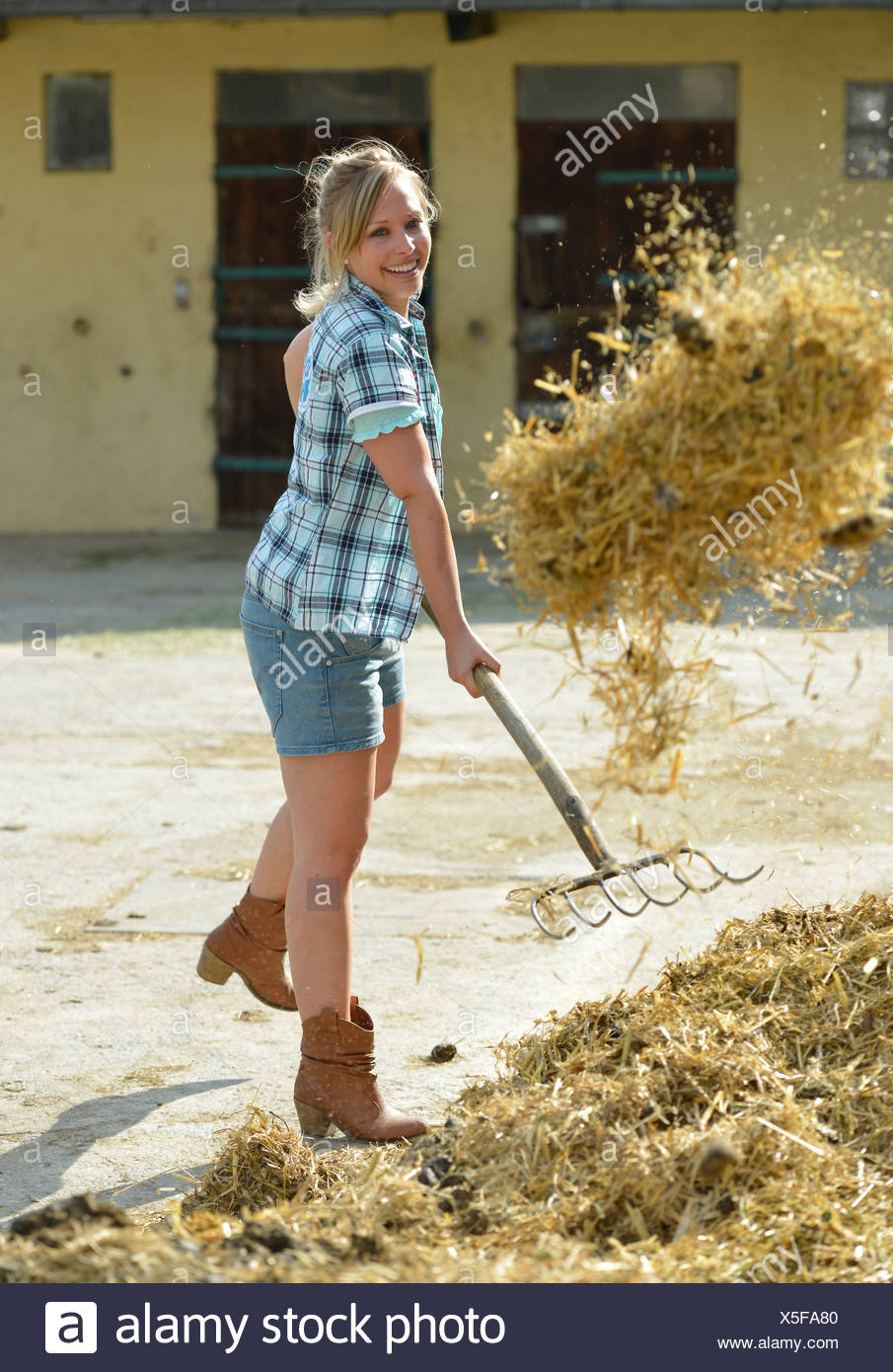 Young female farmer, pitchfork, horse manure, cleaning out with gusto, Gingen, Baden-Wuerttemberg, Germany, Europe Stock Photo