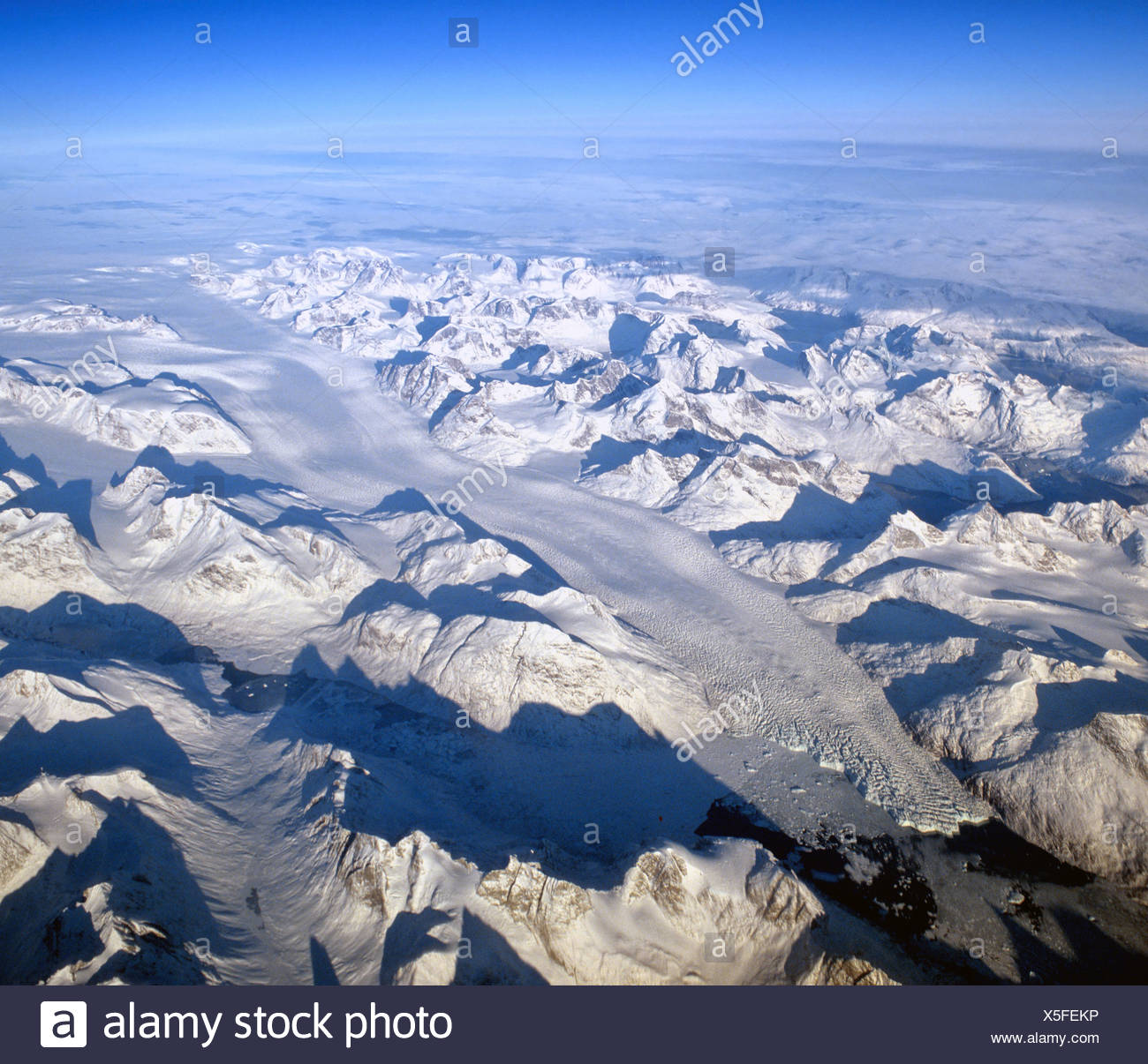 Glacier in southern Greenland, view from an elevation of 10 000 metres, aerial view, Greenland - Stock Image
