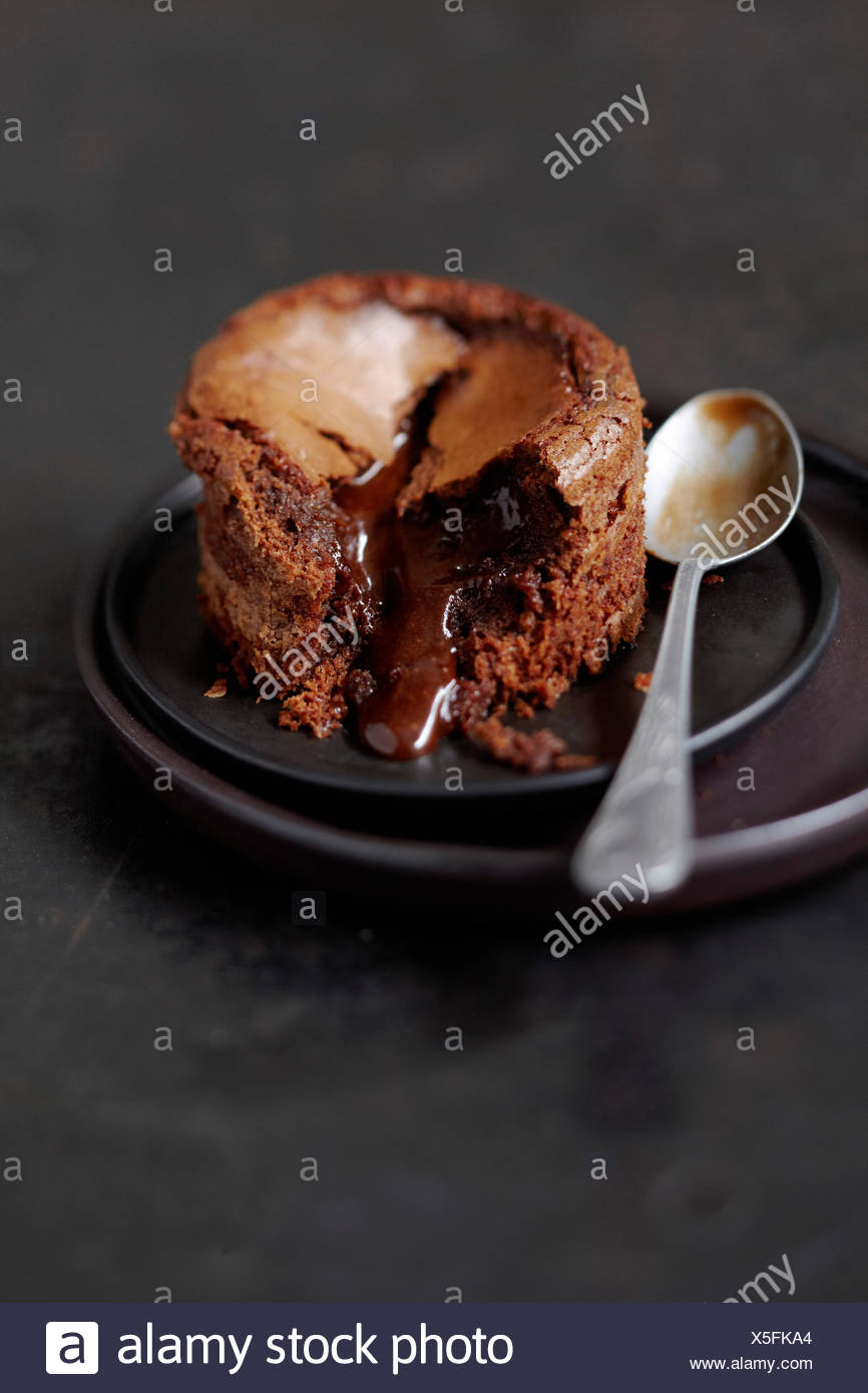 Runny chocolate fondant - Stock Image