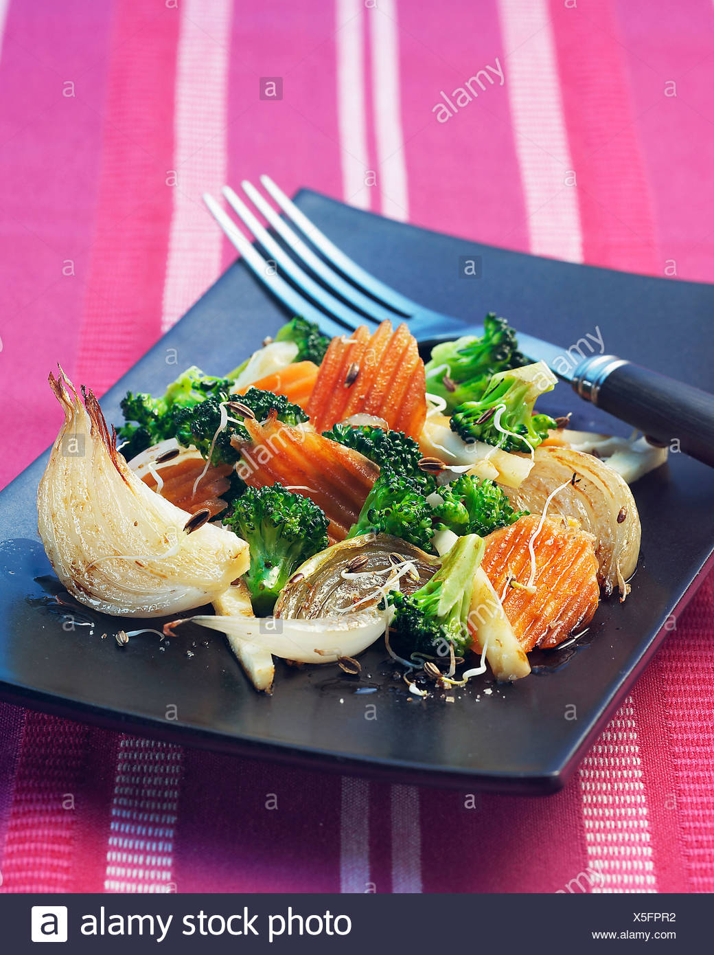 Pan-fried vegetables with sprouts Stock Photo