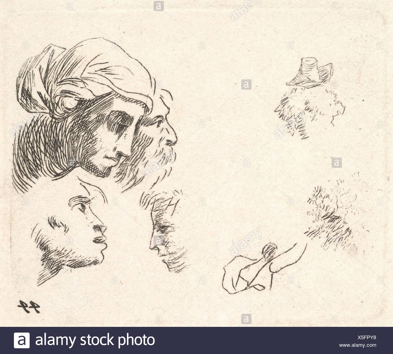 Study of heads in profile view, a woman with headcloth and bearded man whose heads overlap above, two facing profiles below. Artist: Karel Dujardin - Stock Image