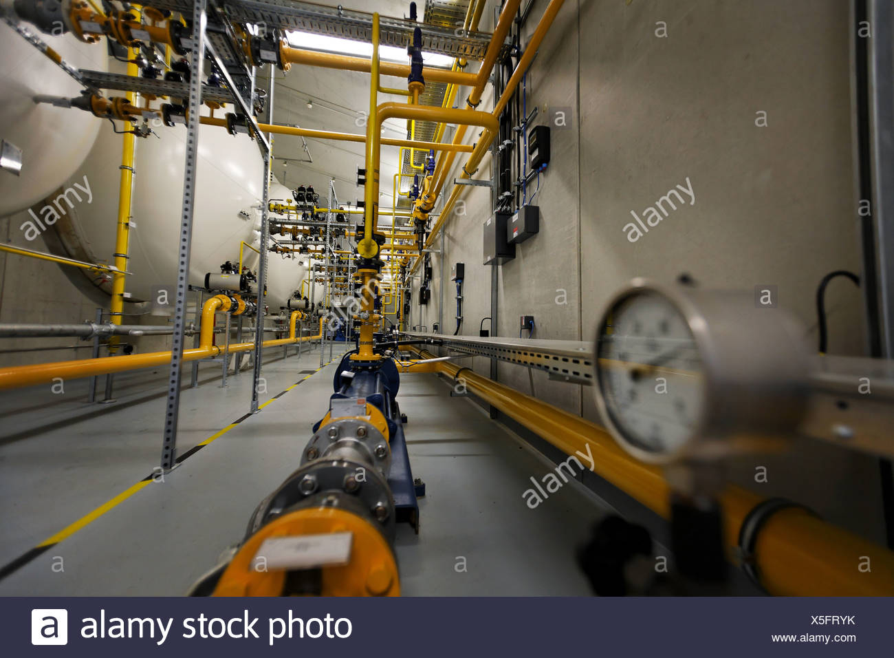 Propane-storage of the gasworks of the Enbw, Stuttgart, Baden-Wuerttemberg, Germany - Stock Image