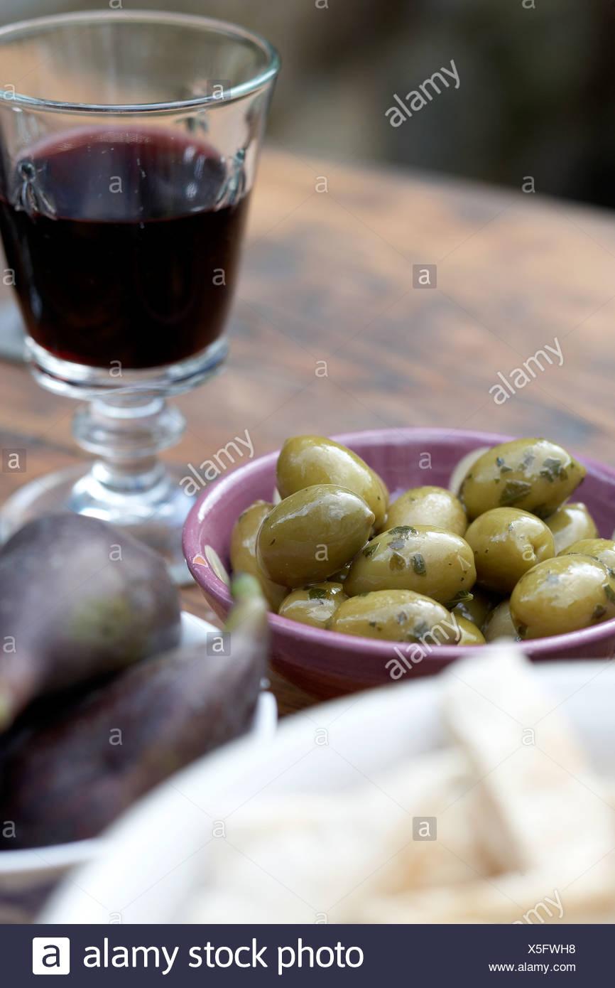 Green olives meze /appetiser - Stock Image
