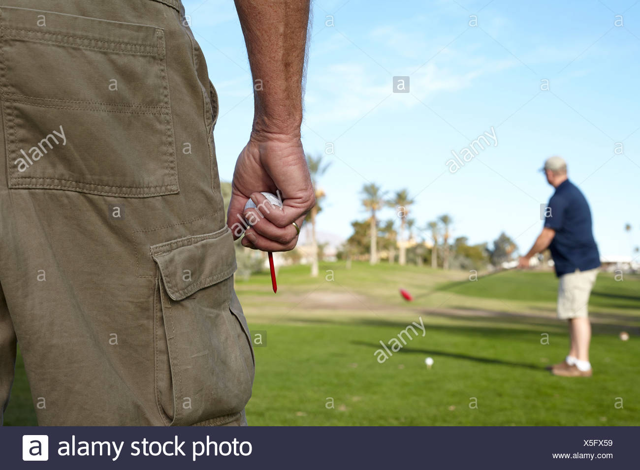 Two male golfers taking shot on green - Stock Image