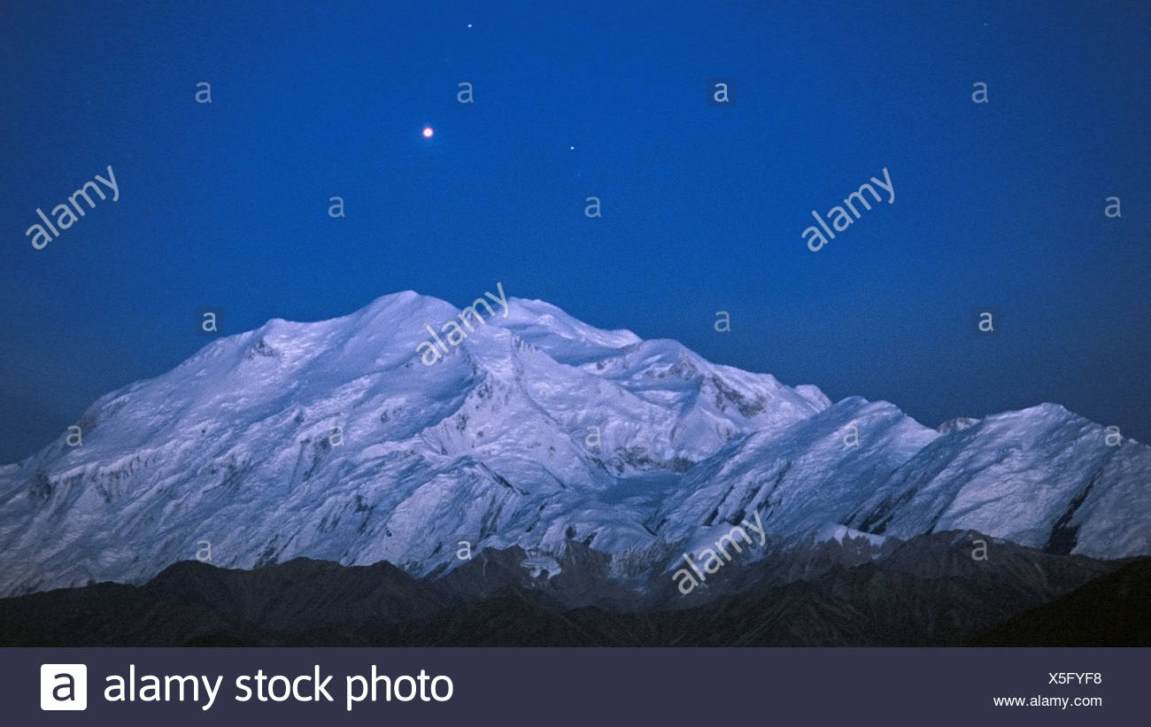 Planet Mars Visible Over Mount McKinley - Stock Image