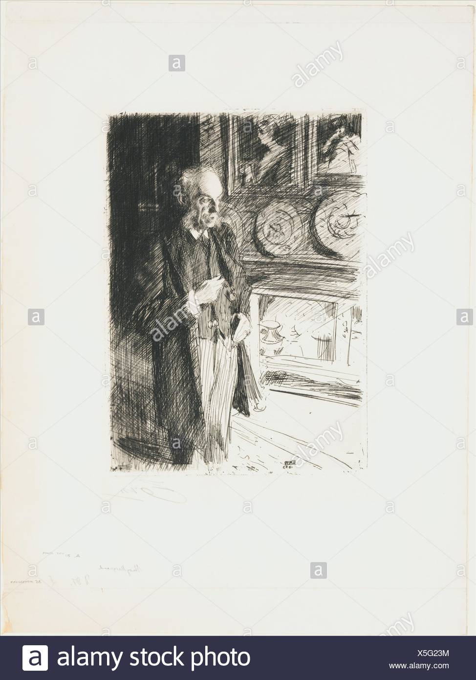 Henry Marquand. Artist: Anders Zorn (Swedish, Mora 1860-1920 Mora); Date: 1893; Medium: Etching; only state; Dimensions: Plate: 10 7/8 x 7 13/16 in. Stock Photo