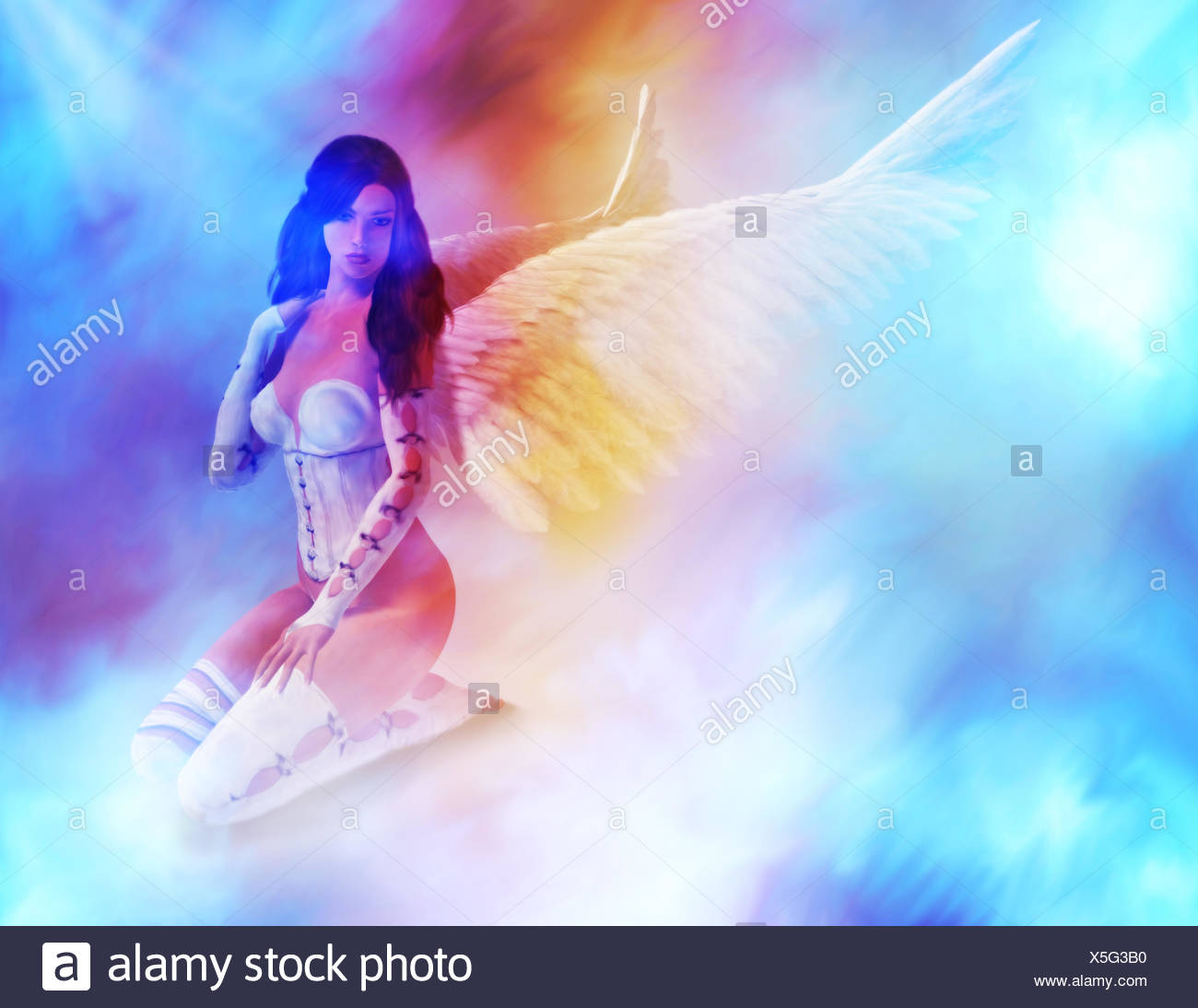 Angel Sitting On Clouds - Stock Image