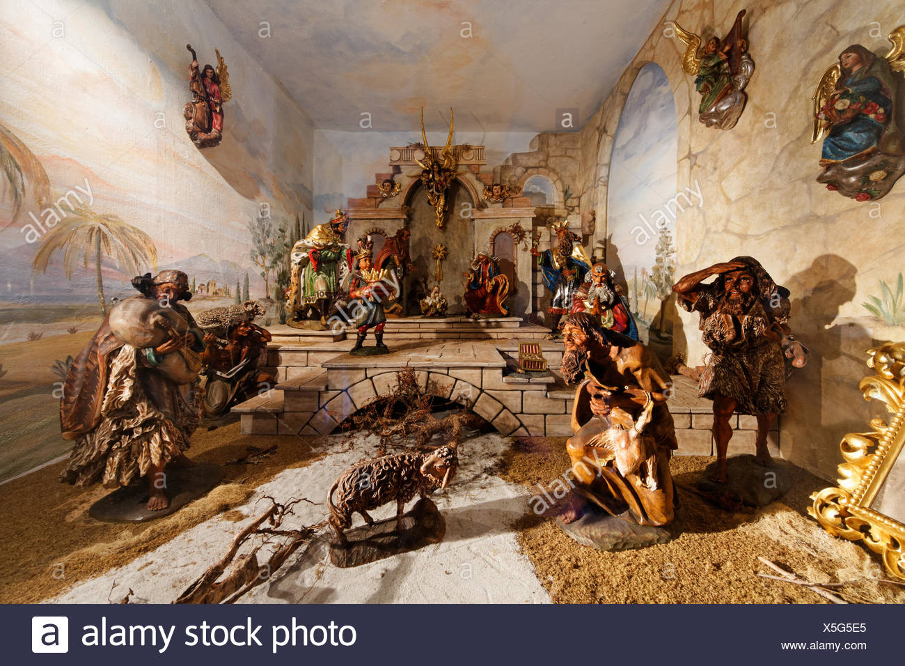 Crib made by Franz Binder in the Parish Church of St. Andreas, Steinbach on lake Attersee, Salzkammergut region, Upper Austria - Stock Image