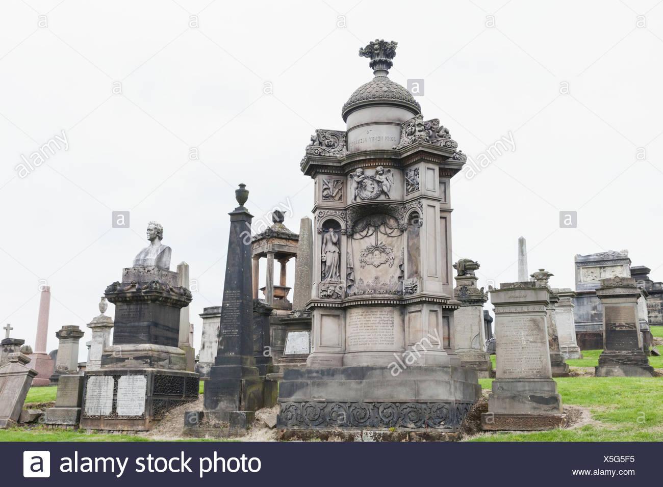 Scotland, Glasgow, Glasgow Cathedral, Glasgow Necropolis, Victorian Tombstones - Stock Image